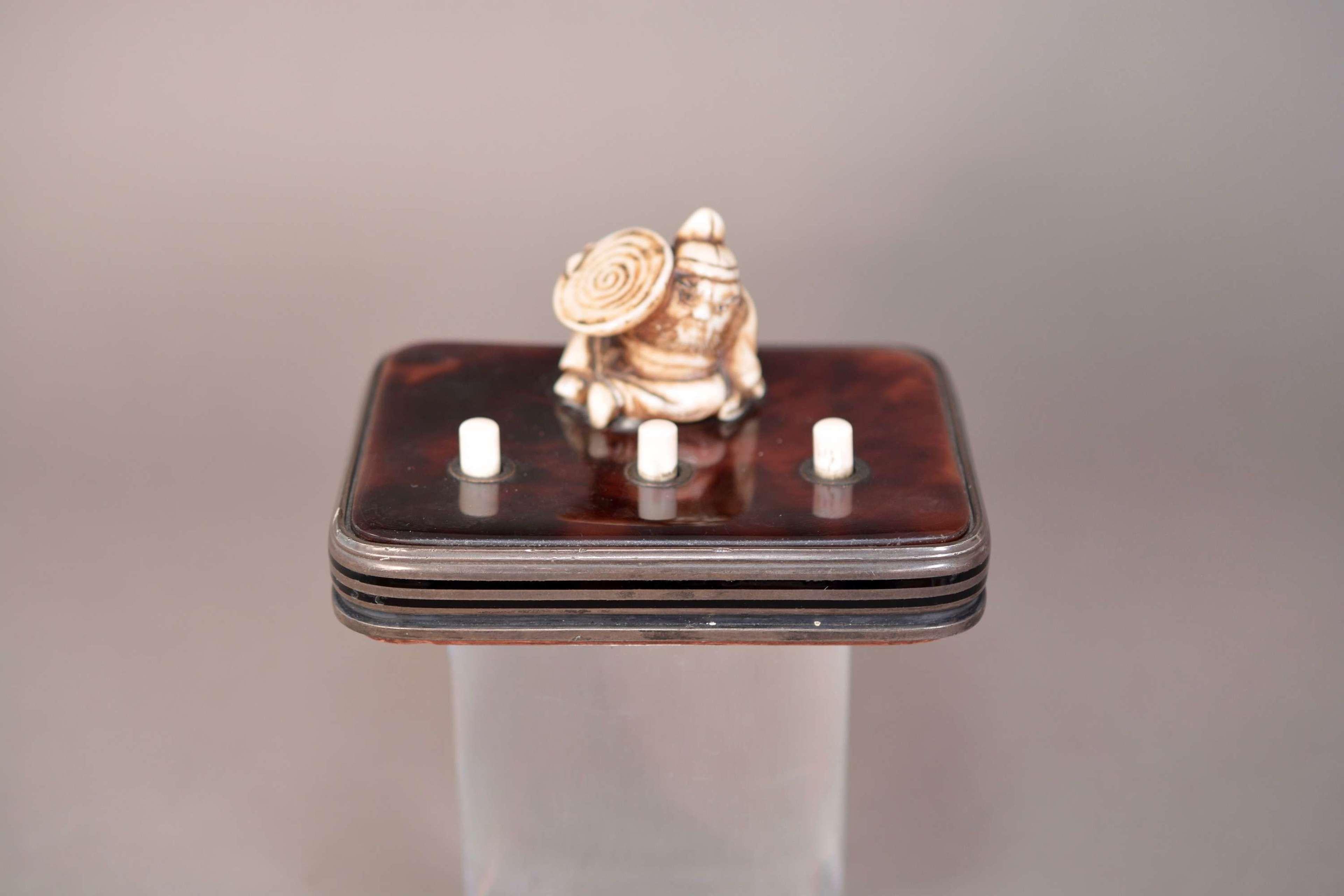Edwardian butler bell push Japanese ivory figure on tortoise shell
