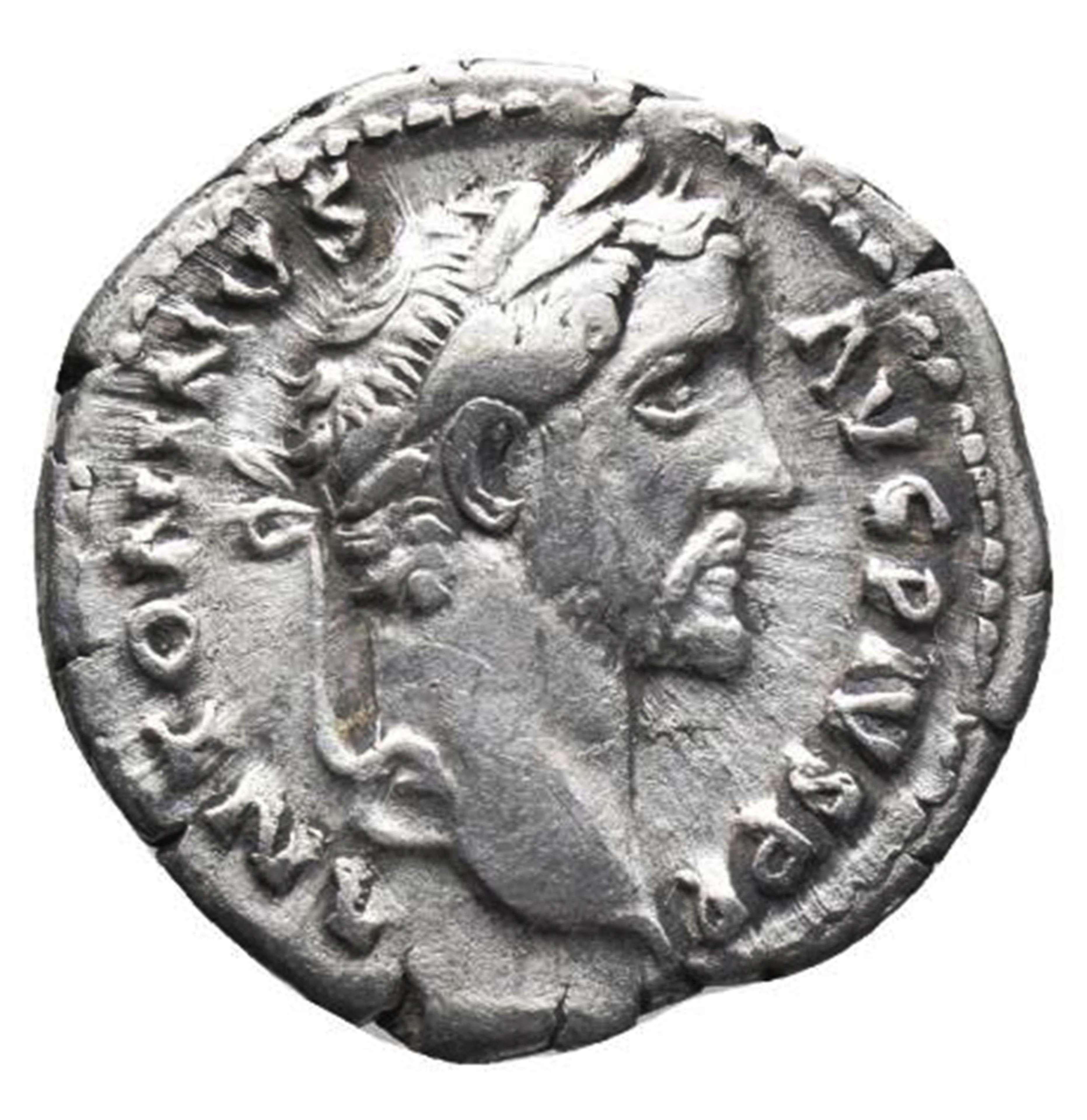 Ancient Roman Silver Denarius of Emperor Antoninus Pius / Caduceus