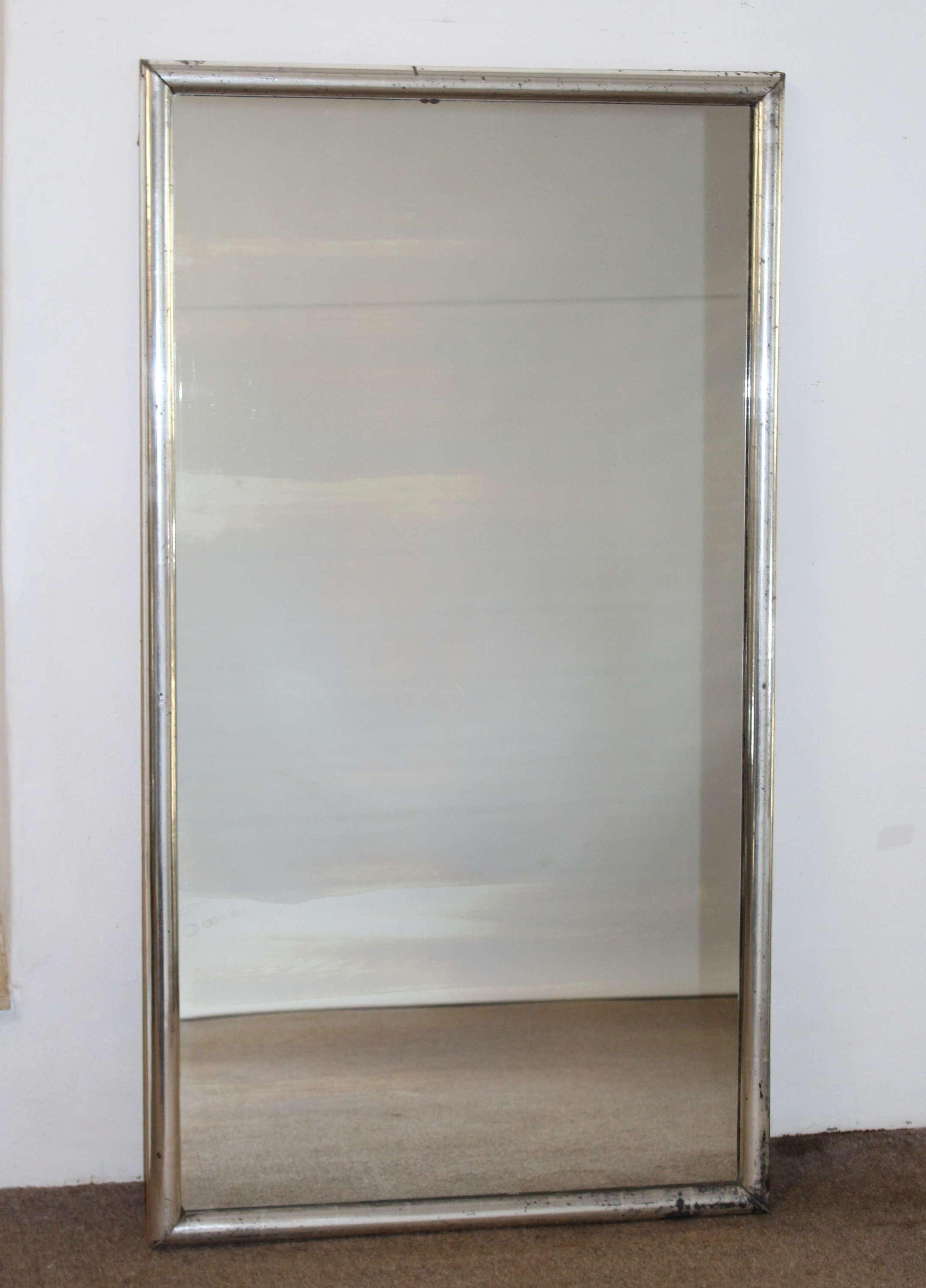 Antique French silver framed bistro mirror