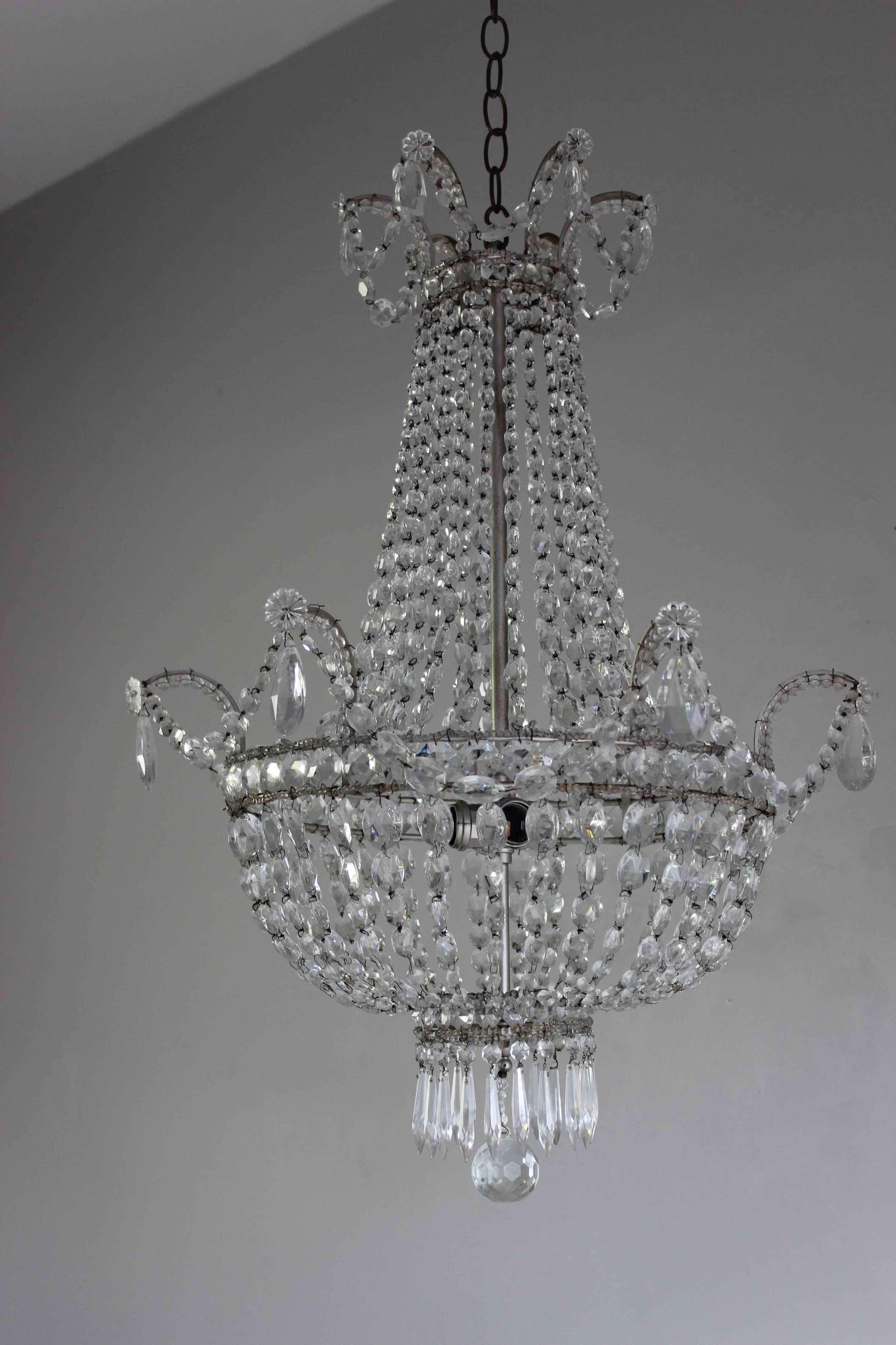 Pretty French silver framed beaded chandelier