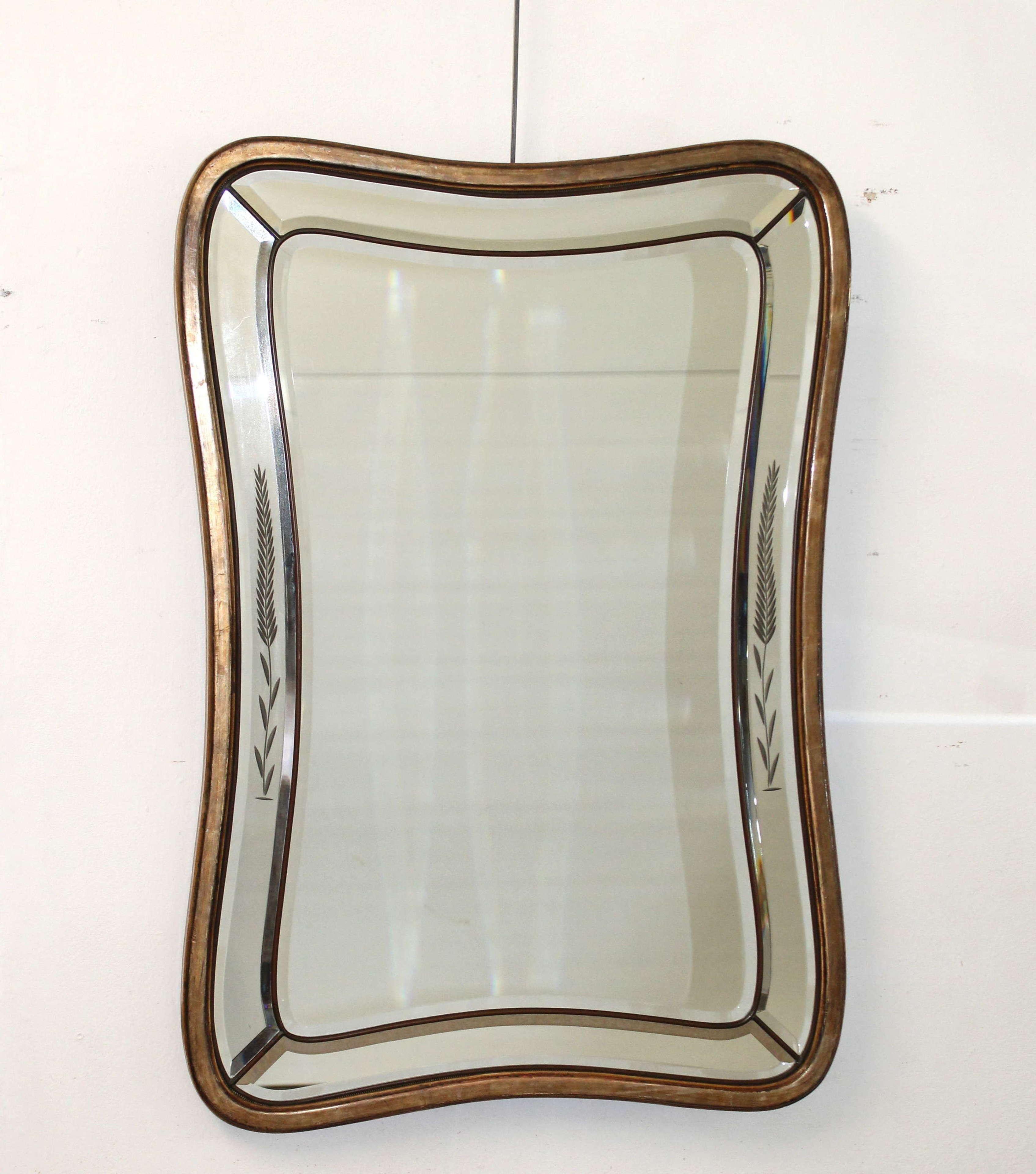 Mid-century modern curvy Italian mirror