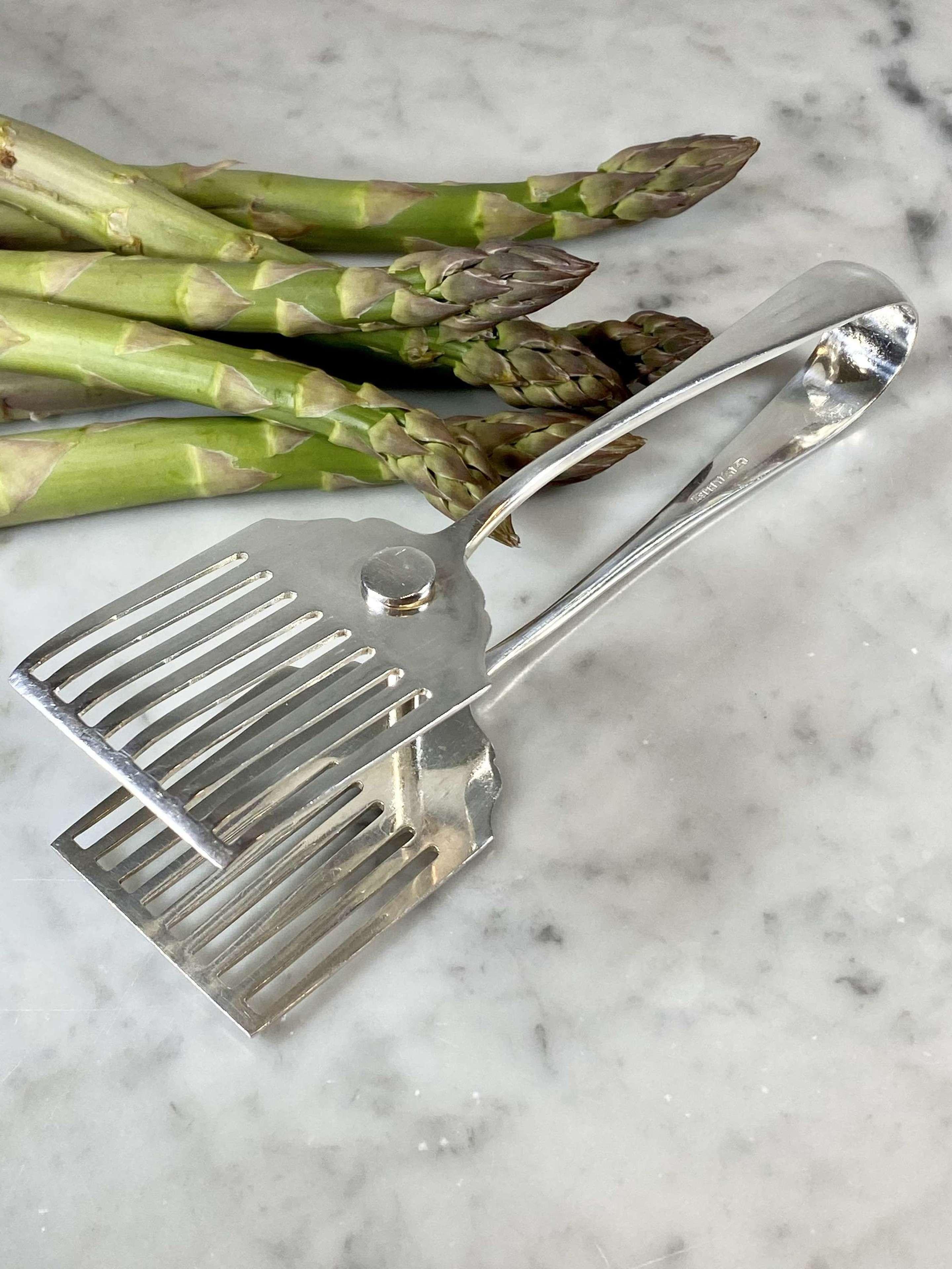 Asprey Art Deco silver plated asparagus serving tongs