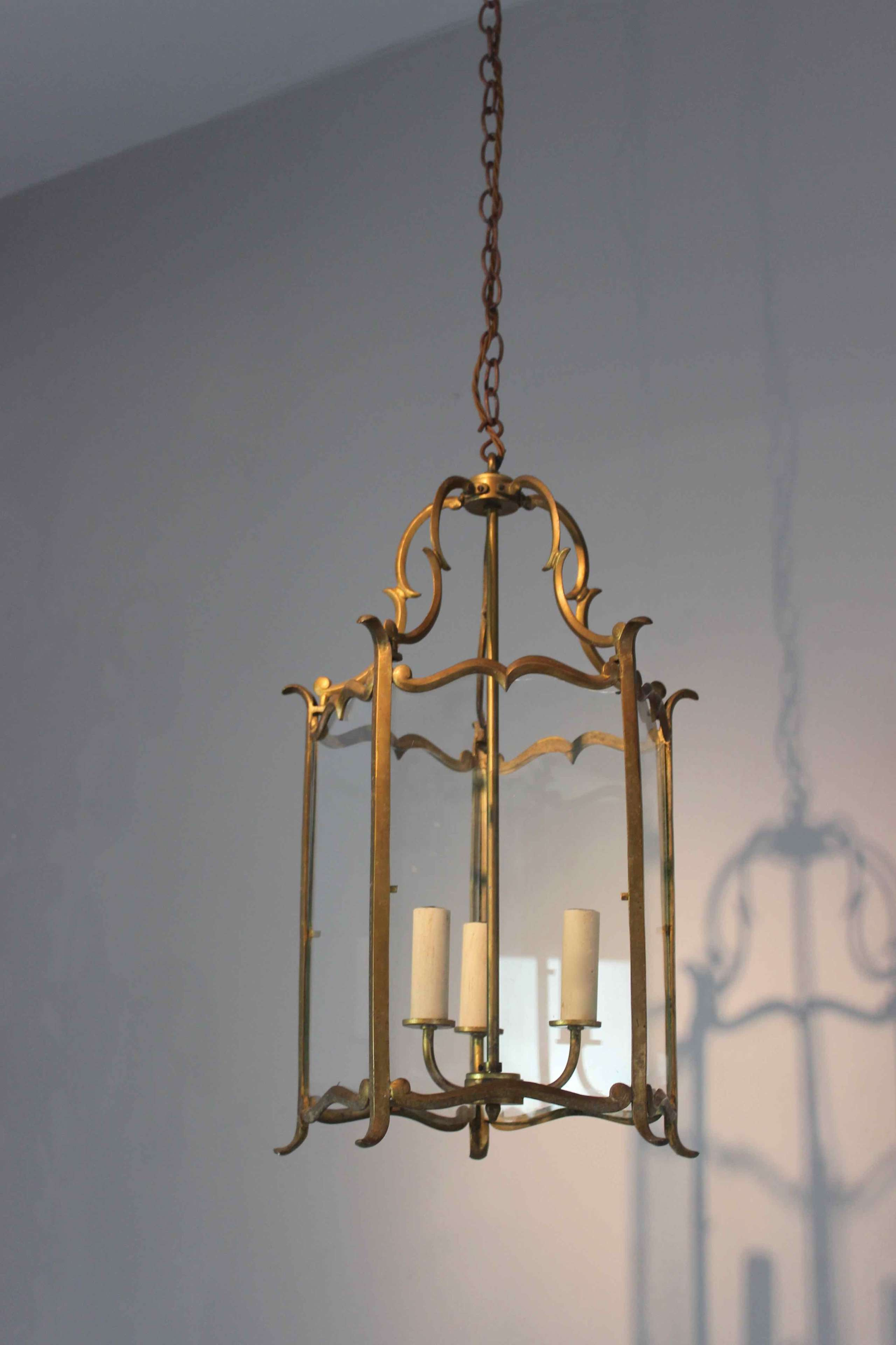 Slim framed brass hall lantern in the style of Bagues