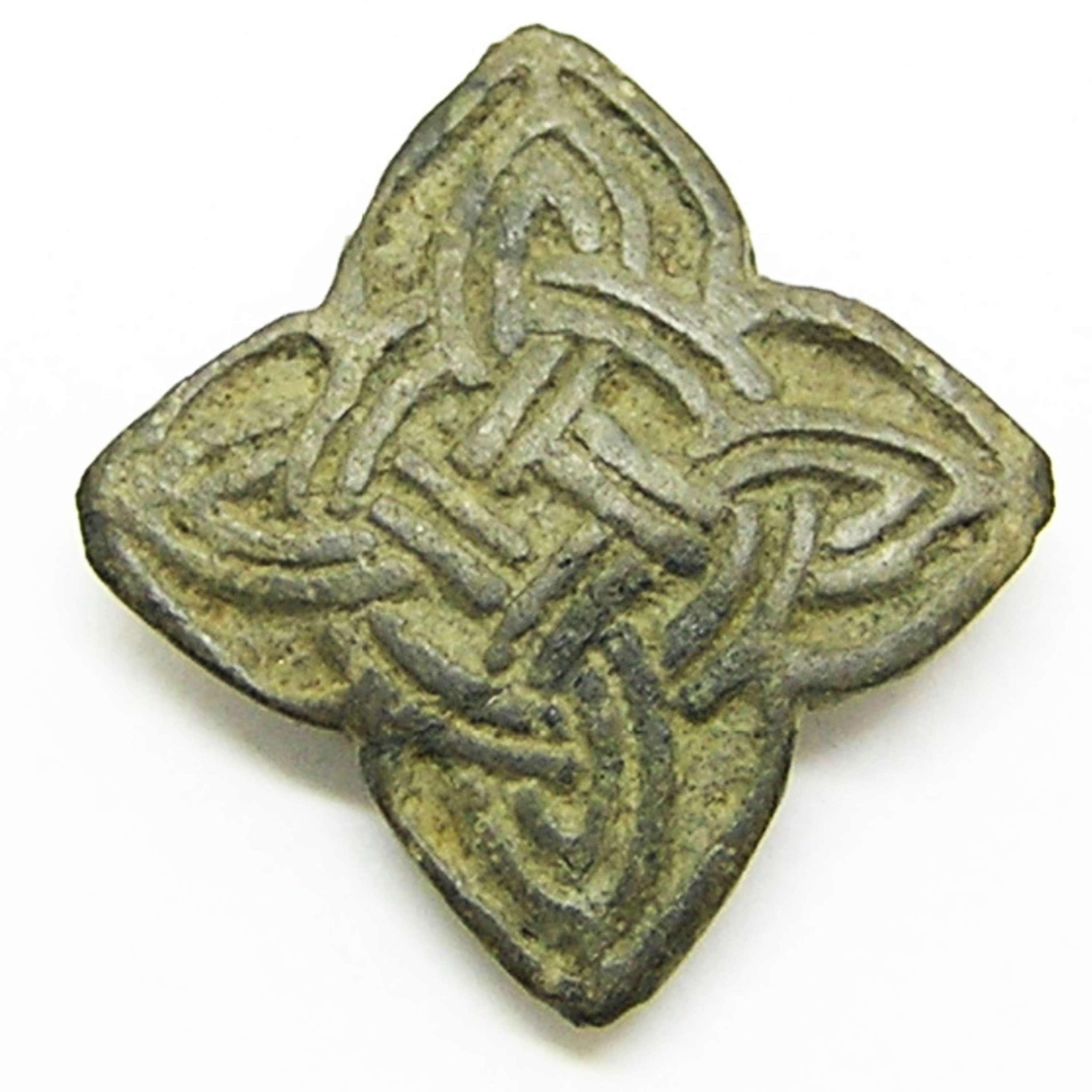 Anglo Saxon copper alloy belt stud interlaced knotwork design