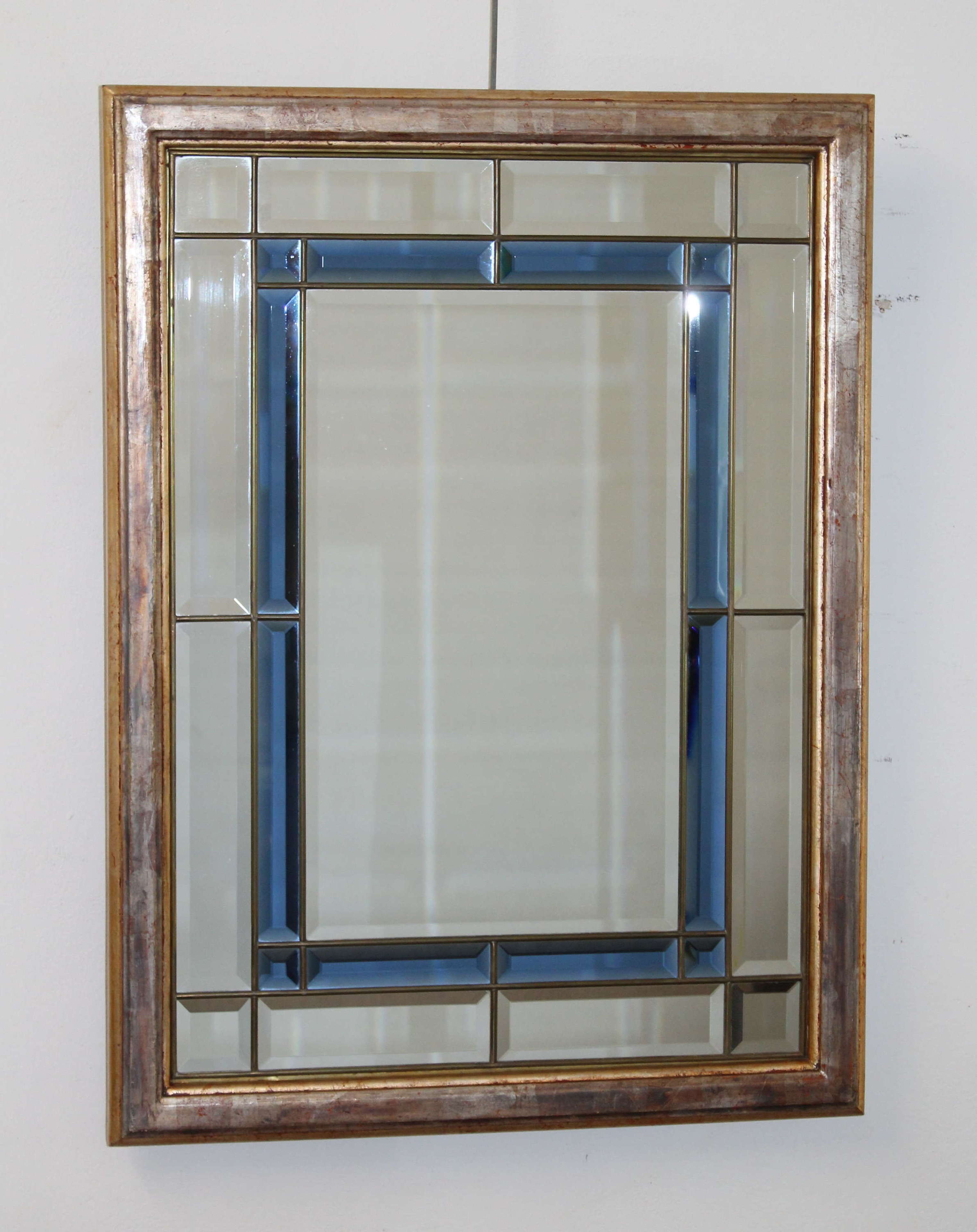 Vintage mirror with sectioned bevelled glass