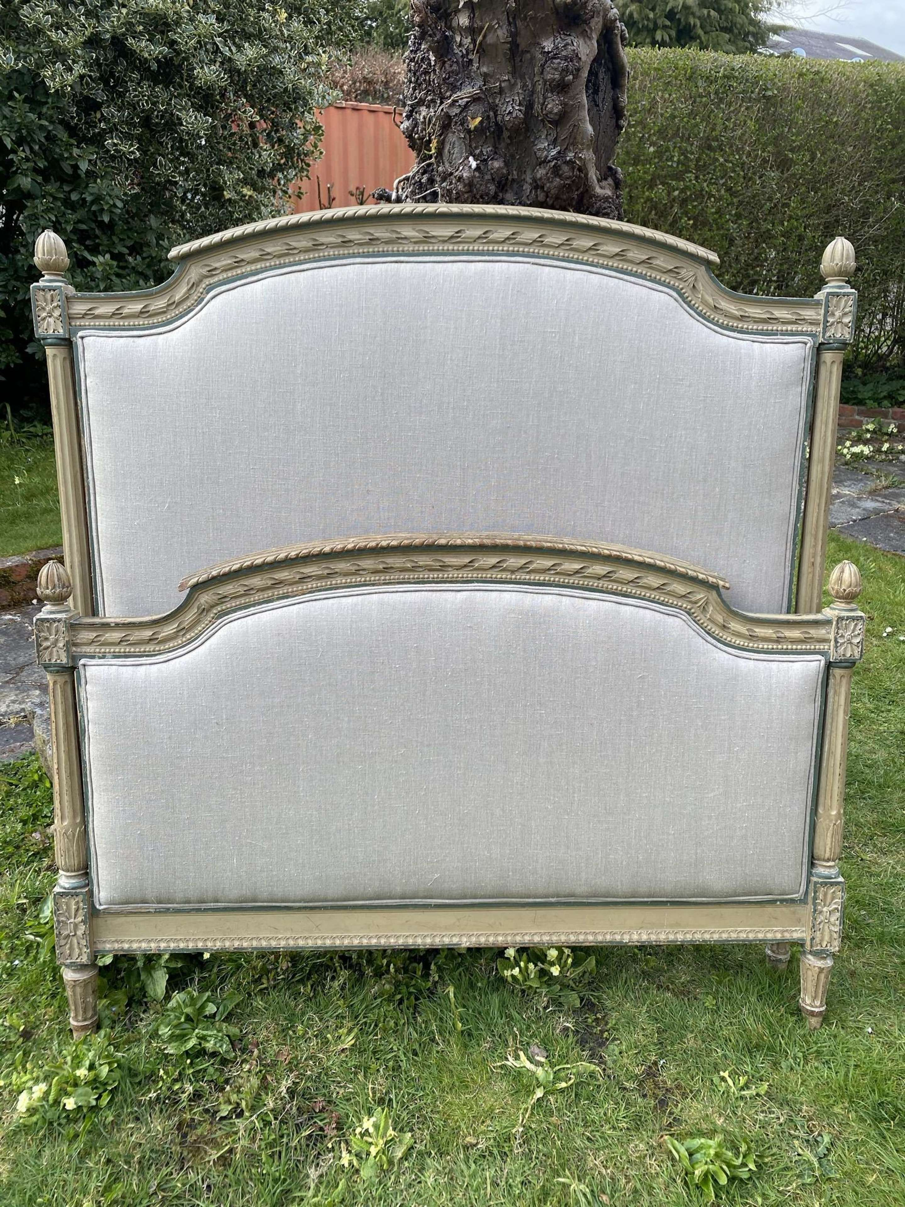 Large single French bed in original paintwork