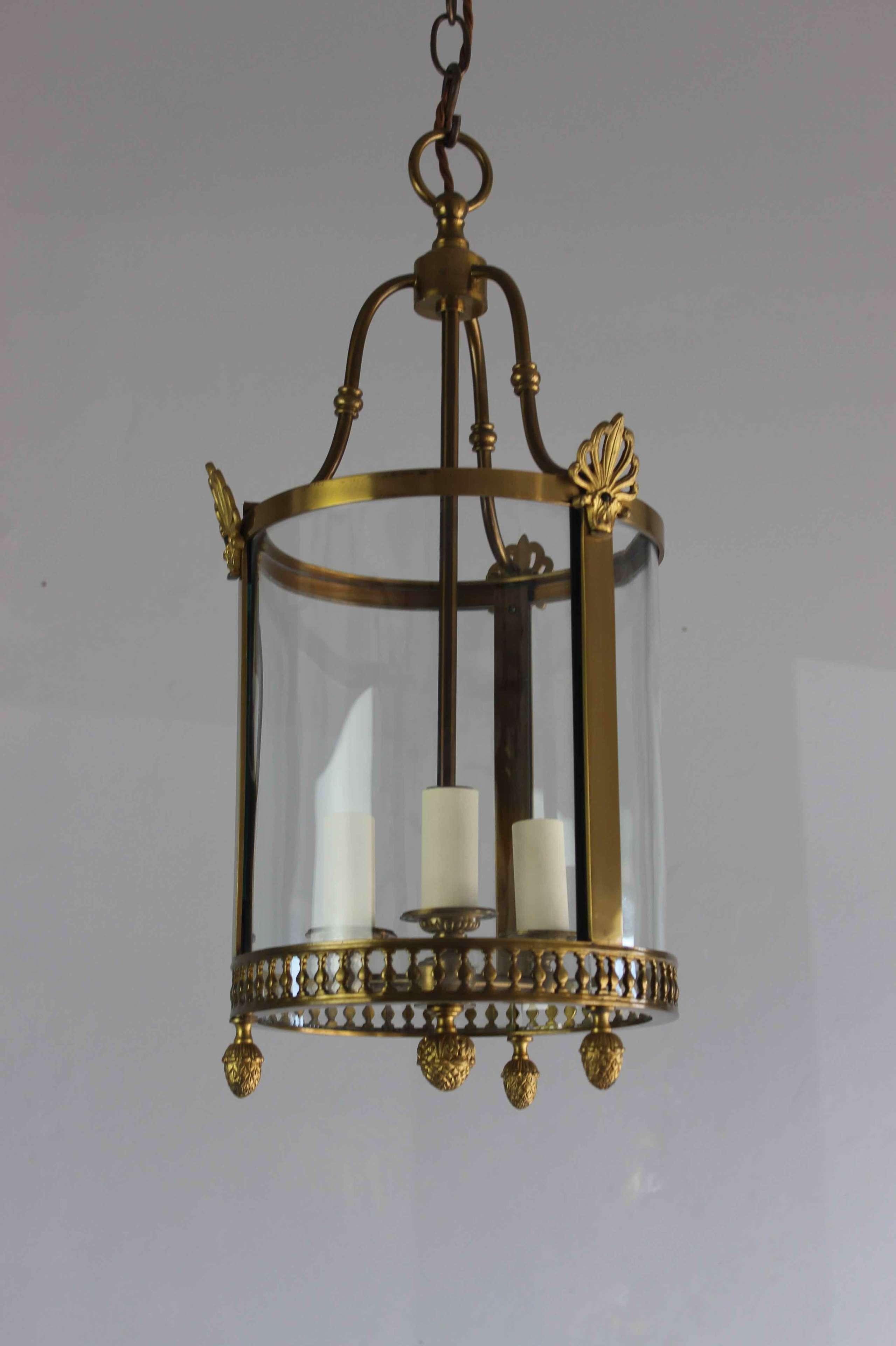 Circular gilded brass hall lantern