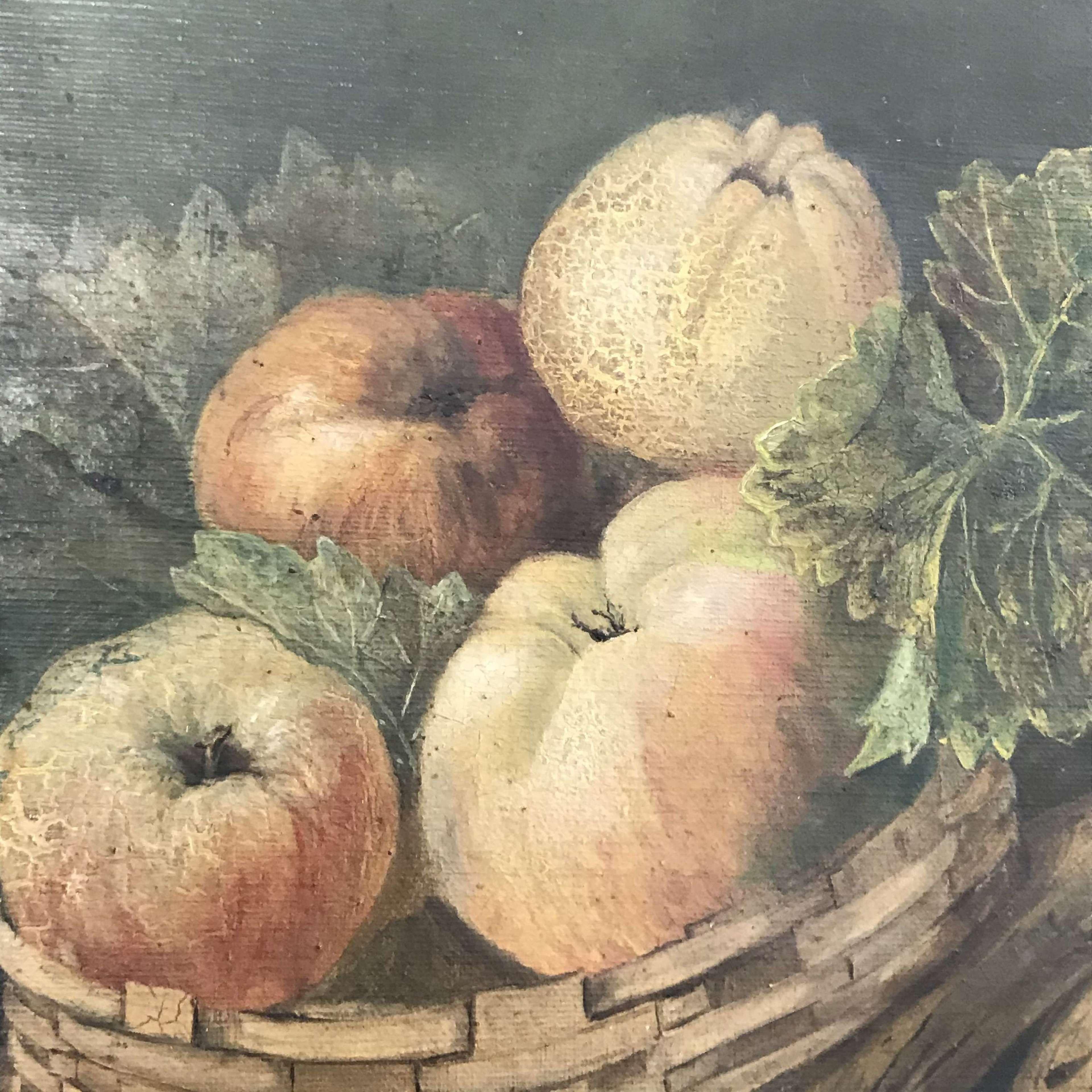 Pair of Arts & Crafts era Still Life oil paintings of fruit in decorat