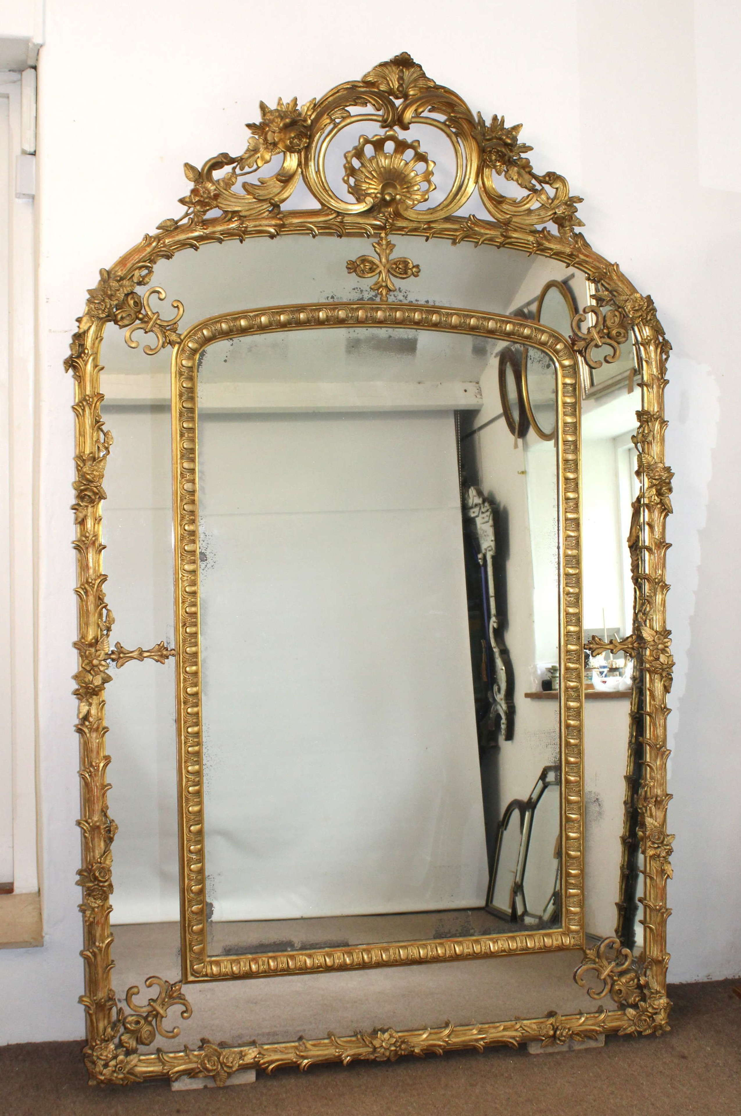 Huge, decorative, antique French margin mirror