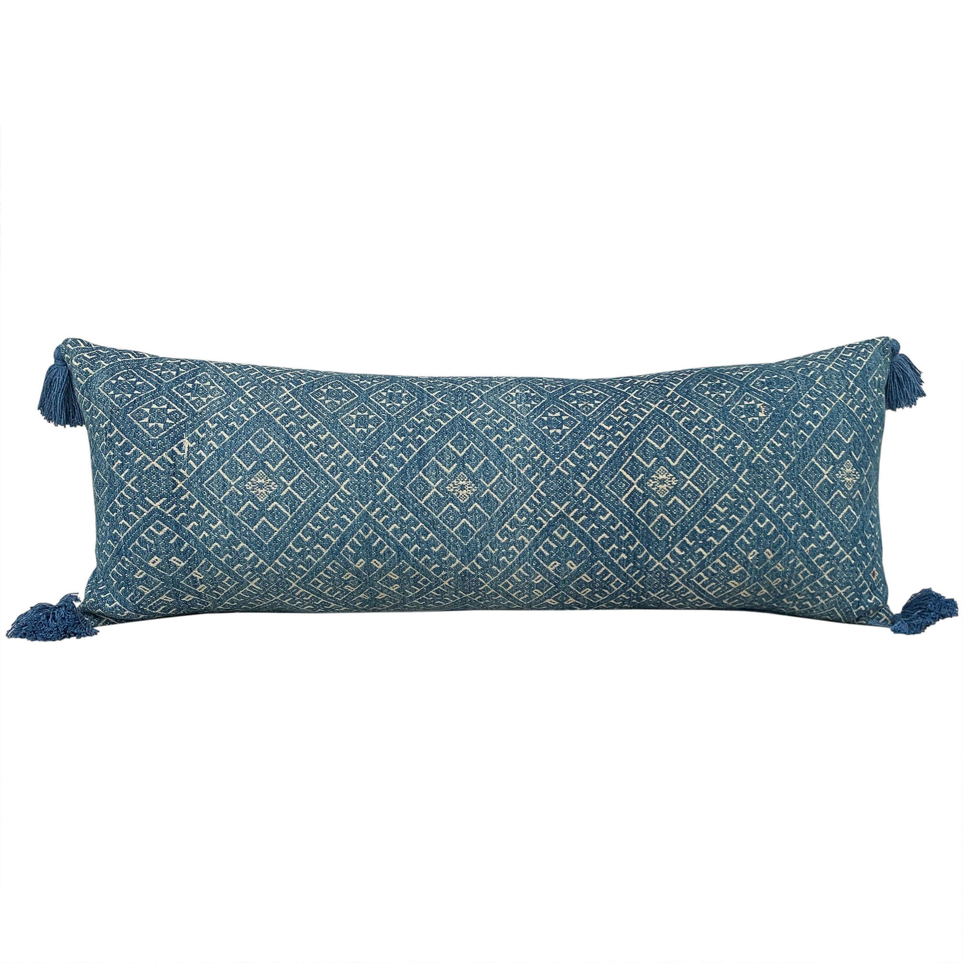 Indigo Dai wedding blanket cushion