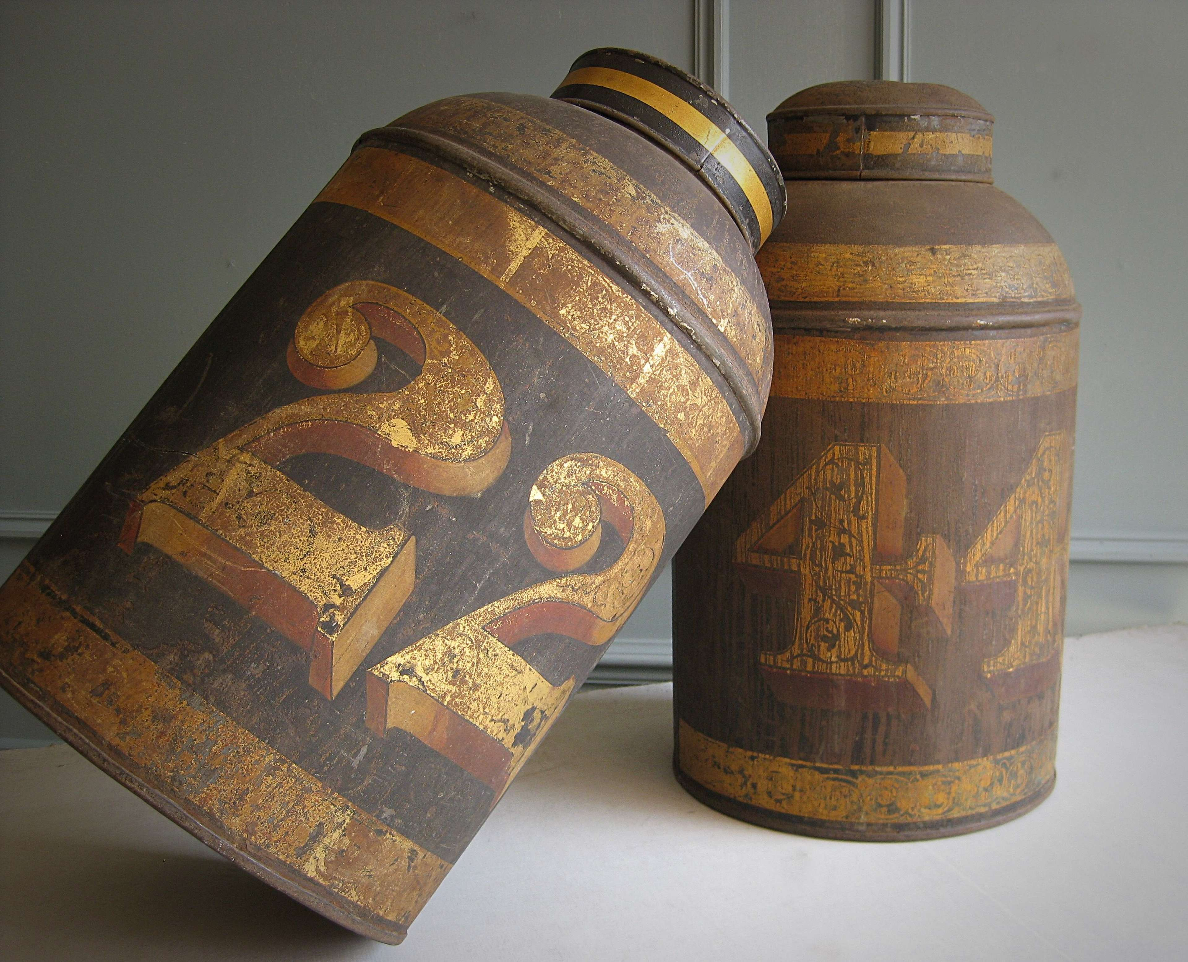 Victorian toleware shop canisters