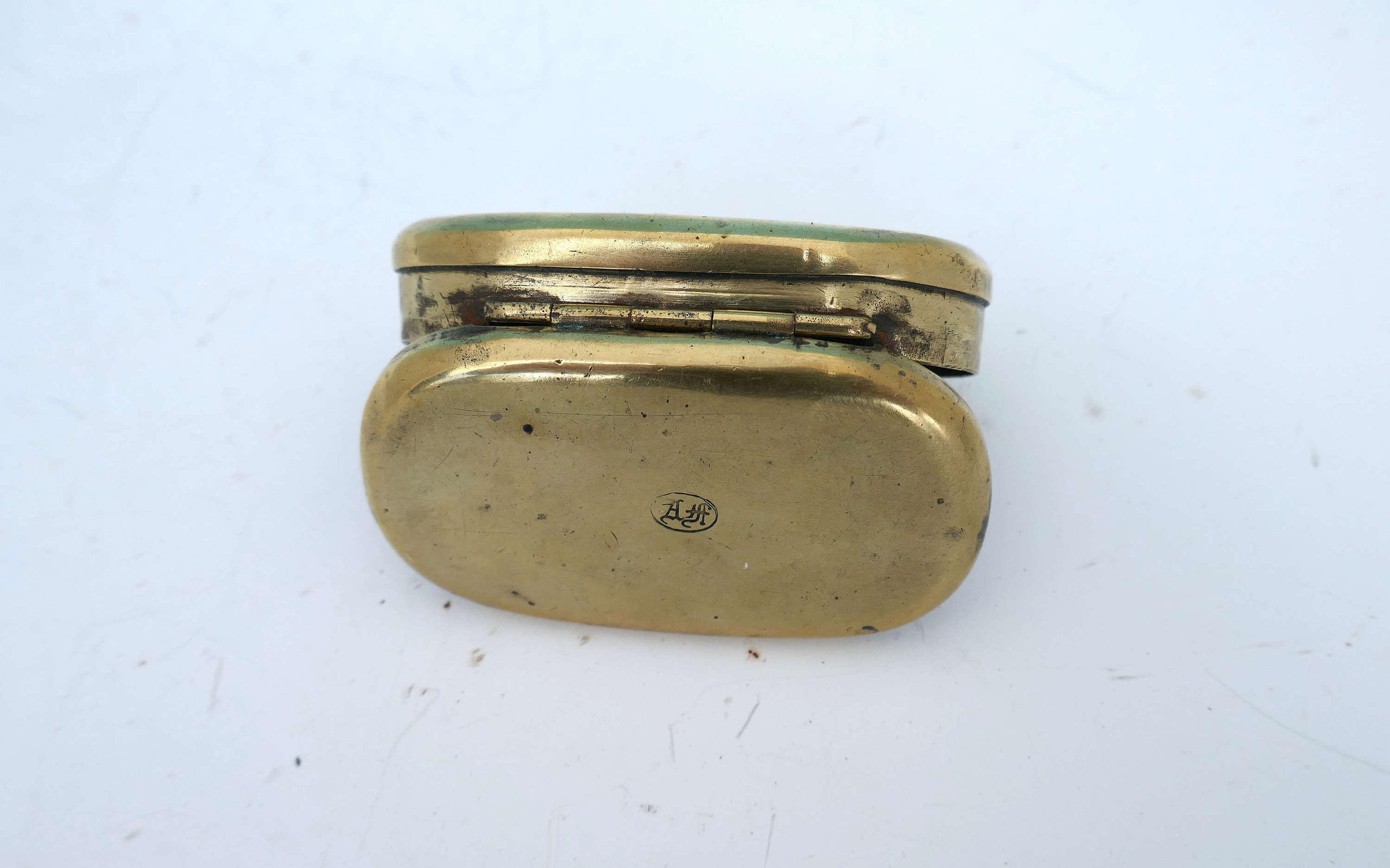 Antique 19thc Initialled Brass Snuff Box.  English C1880-90.