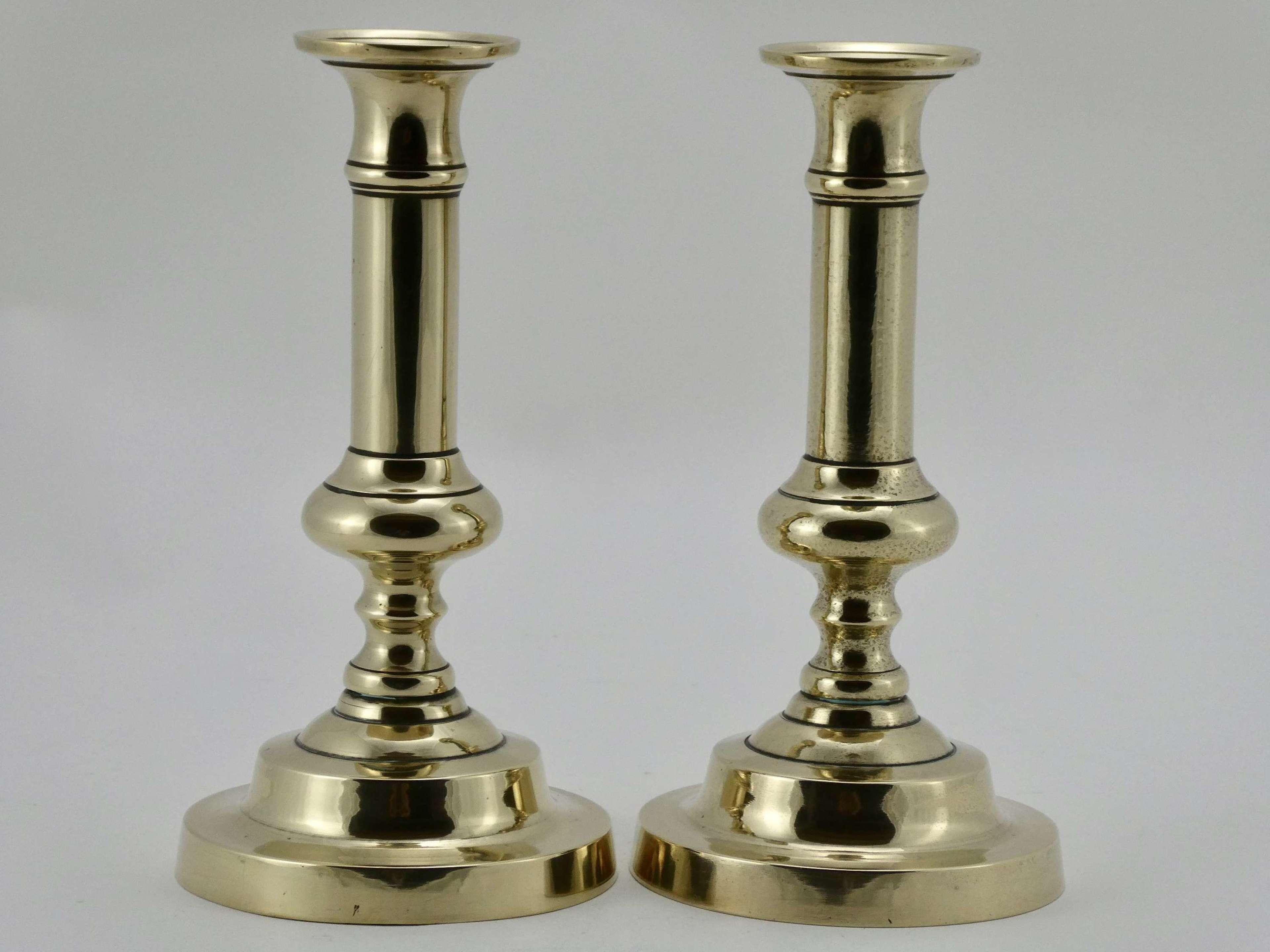 Pair of Brass Candlesticks, circa 1820