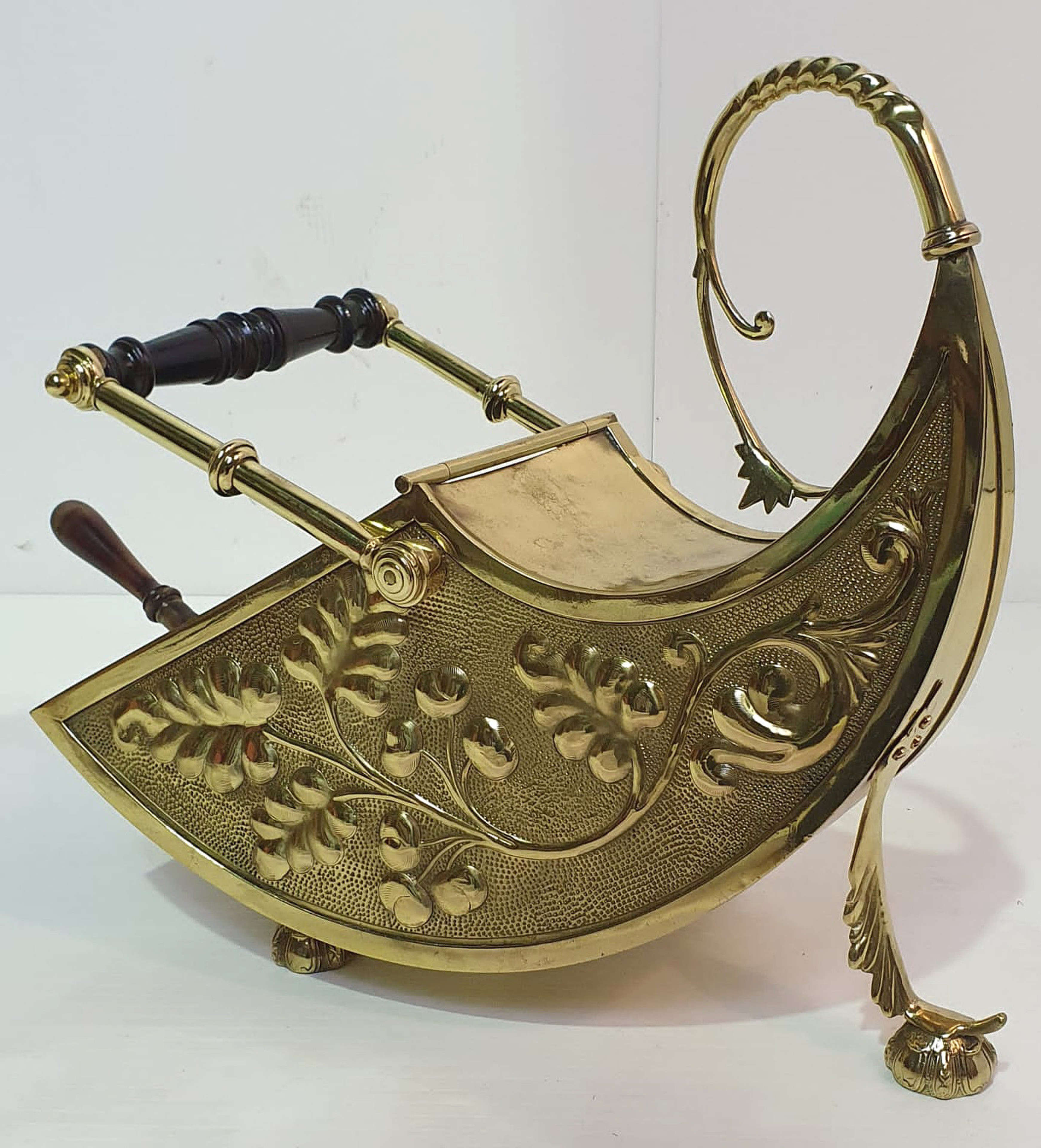 19th Century Very Unusual Embossed Brass Coal Scuttle
