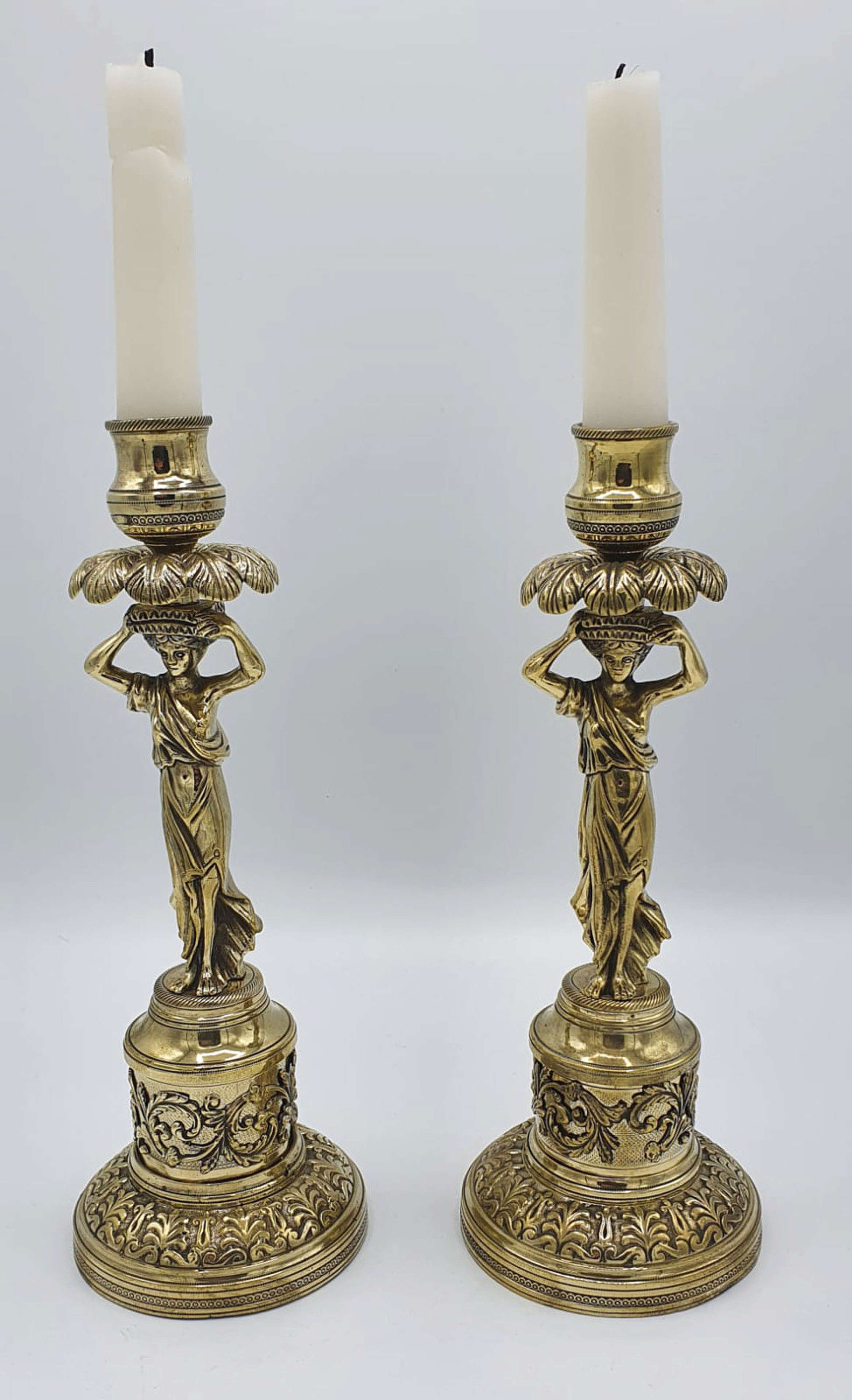 Pair of Heavy 19th Century Brass Candlesticks