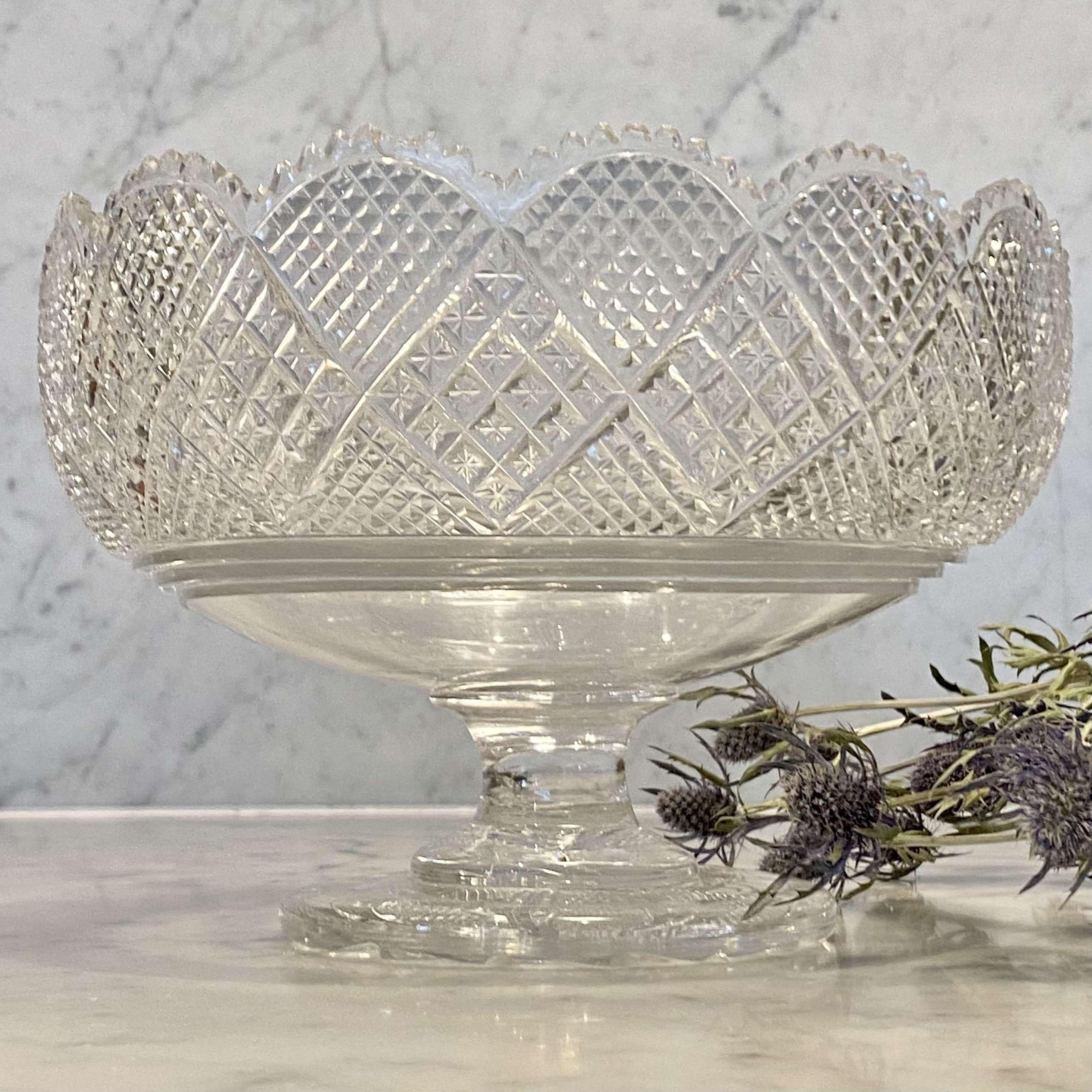 Georgian Anglo Irish cut crystal large pedestal bowl