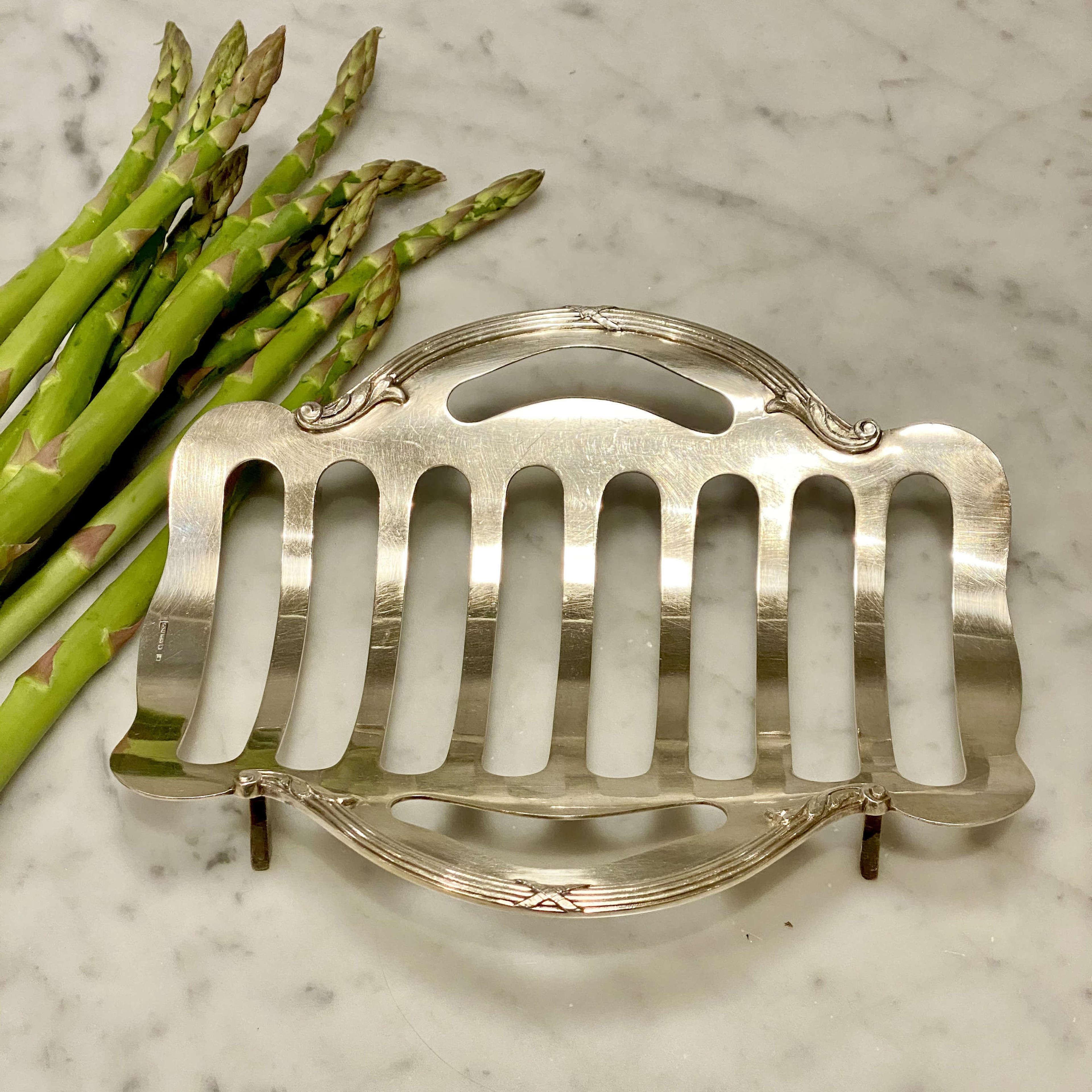 Wiskemann silver plated asparagus cradle serving basket
