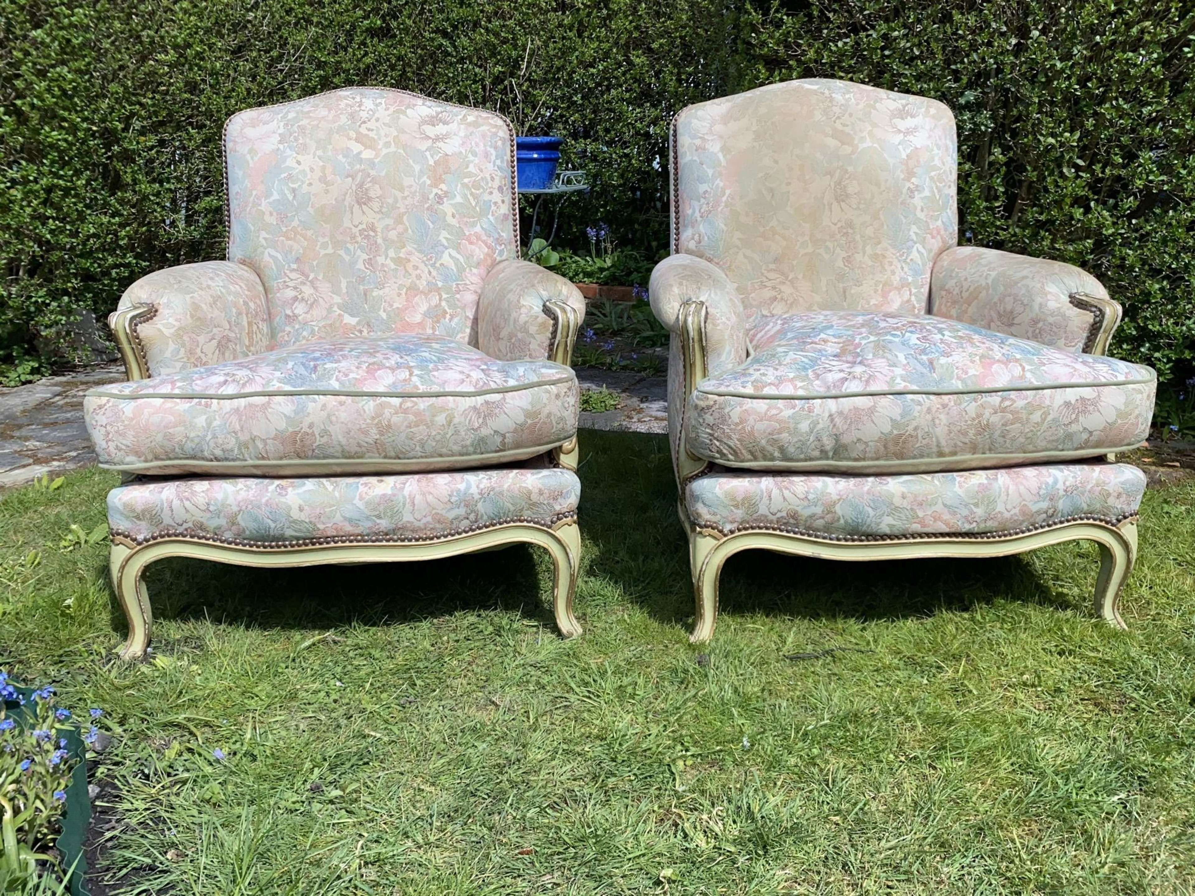 Pair of Louis XVI style Bergere armchairs