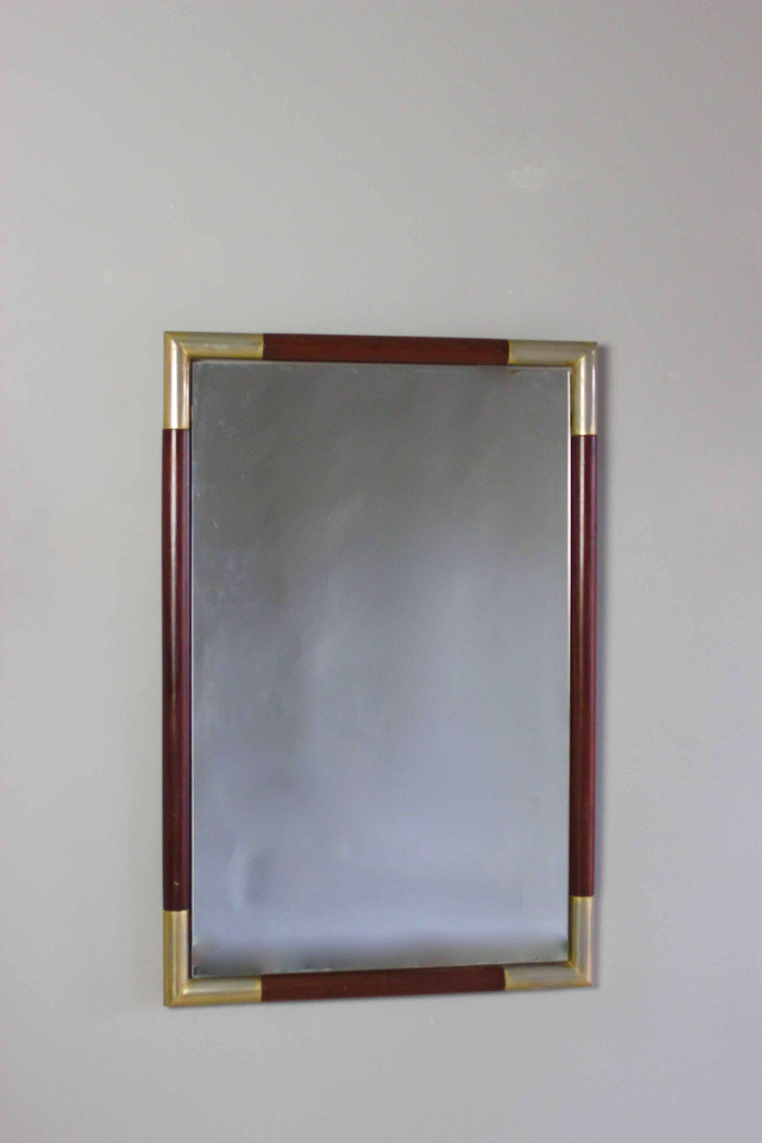 Rectangular silver gilt  and rosewood mirror