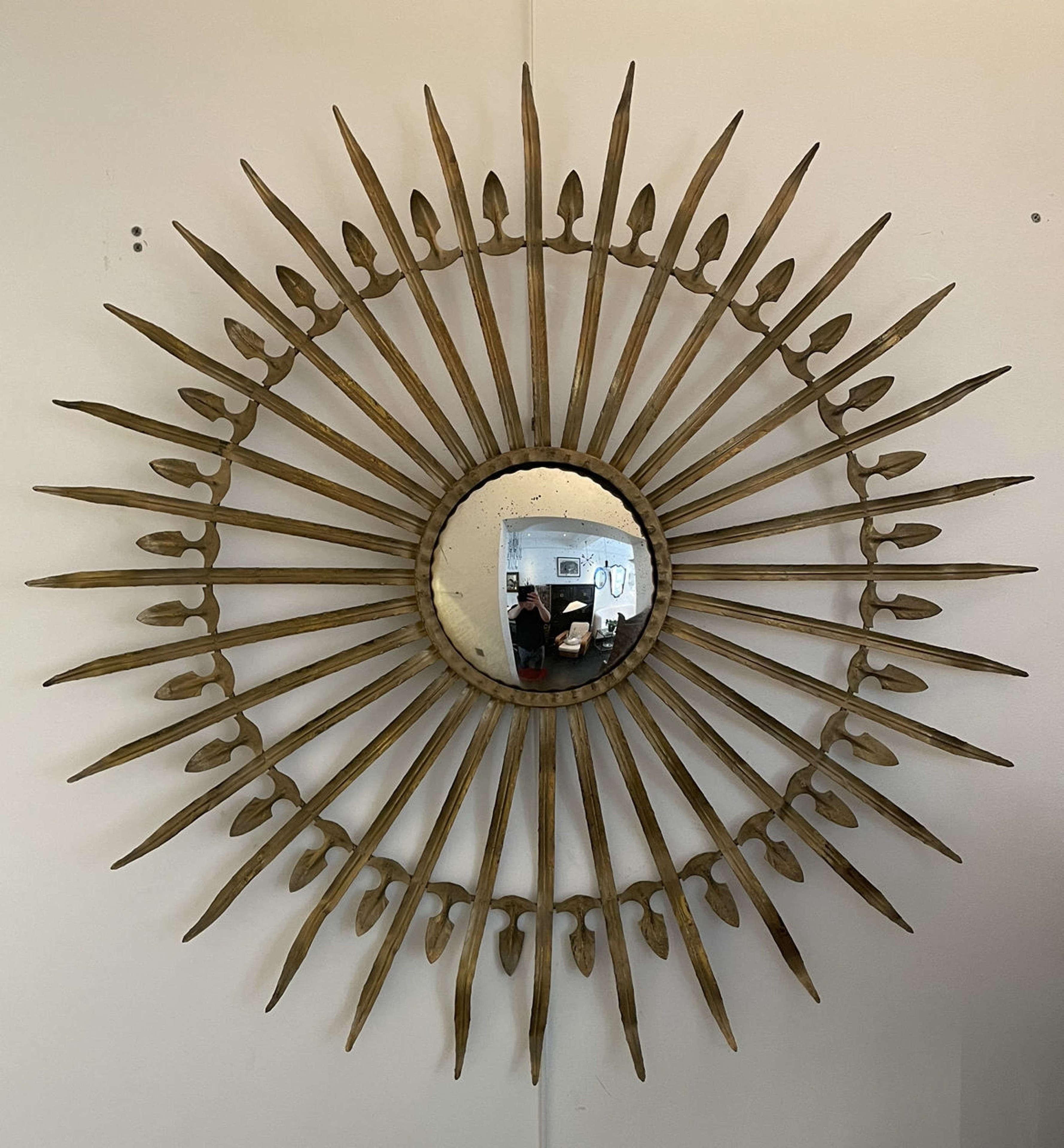 Spanish Mid Century Convex Gilt Metal Sunburst Mirror - 101cm