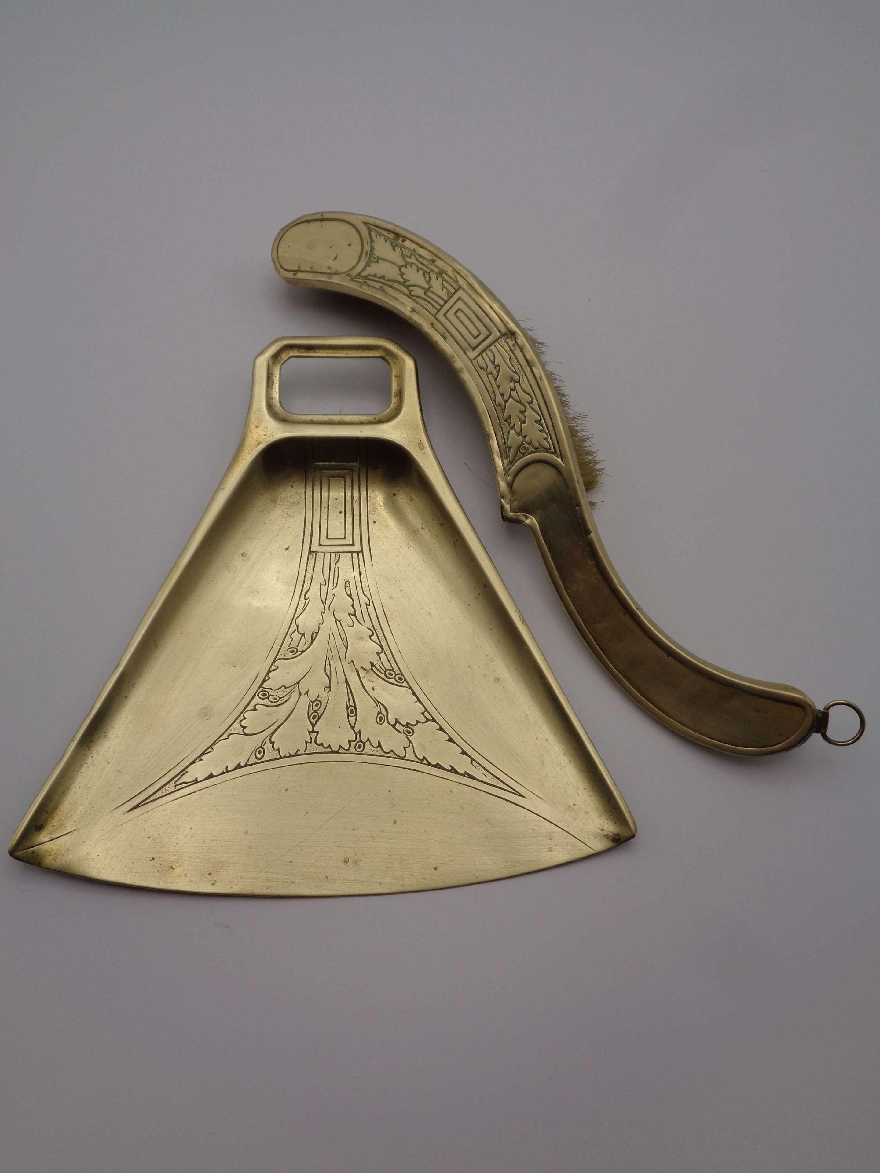WMF Art Nouveau Brass Crumb Tray & Brush
