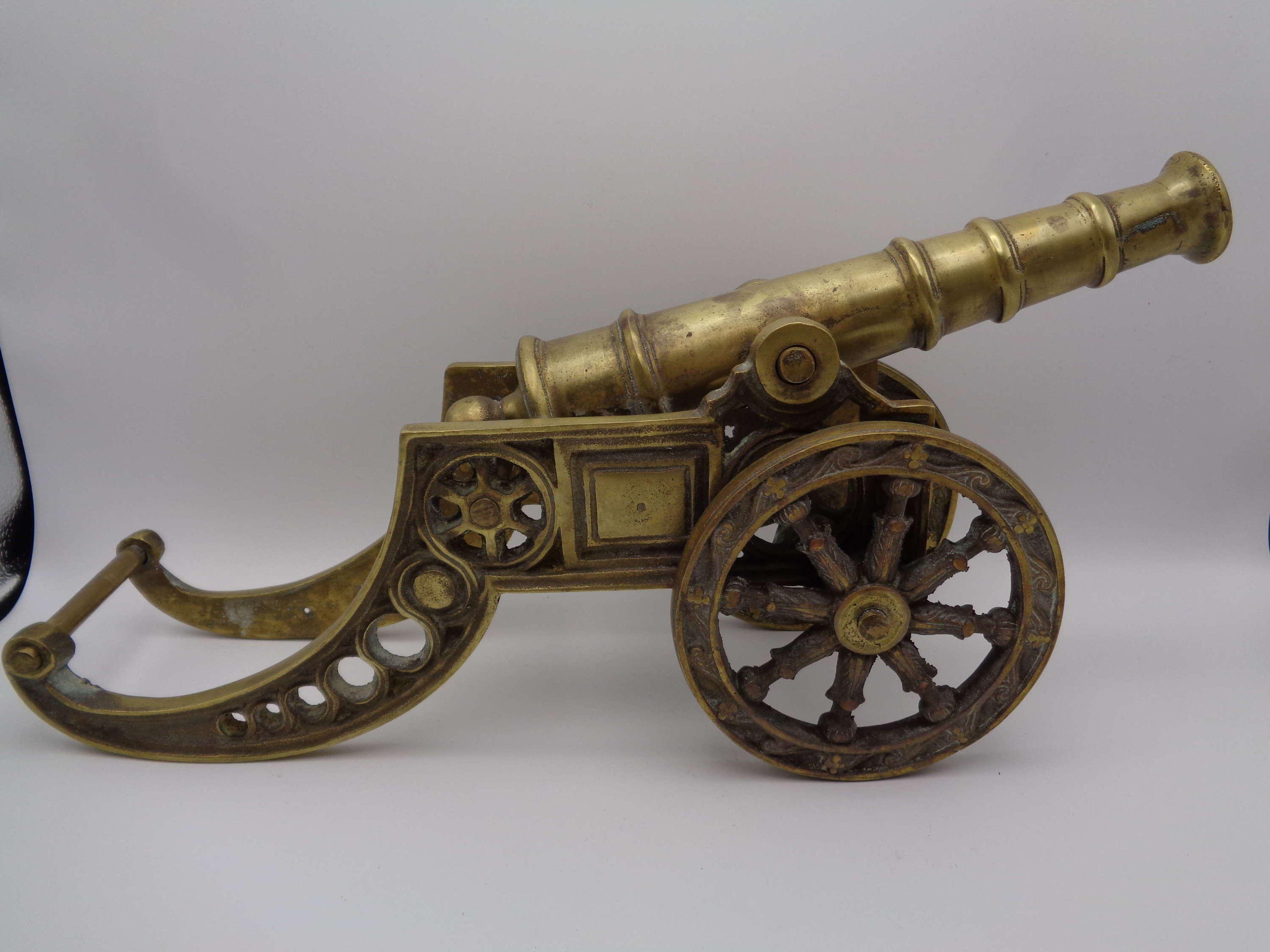Vintage Brass Cannon - Desk Ornament