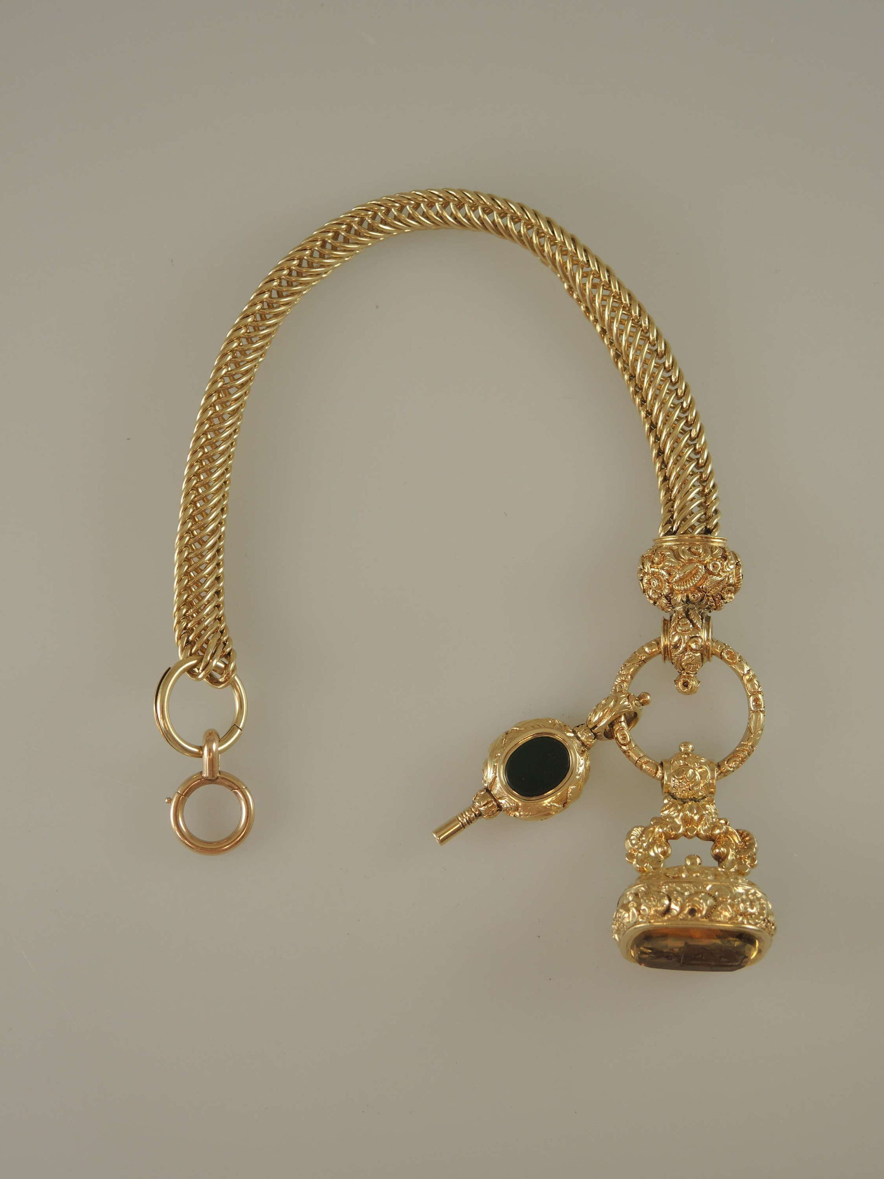 Magnificent 18K Gold watch chain with key and intaglio seal c1850