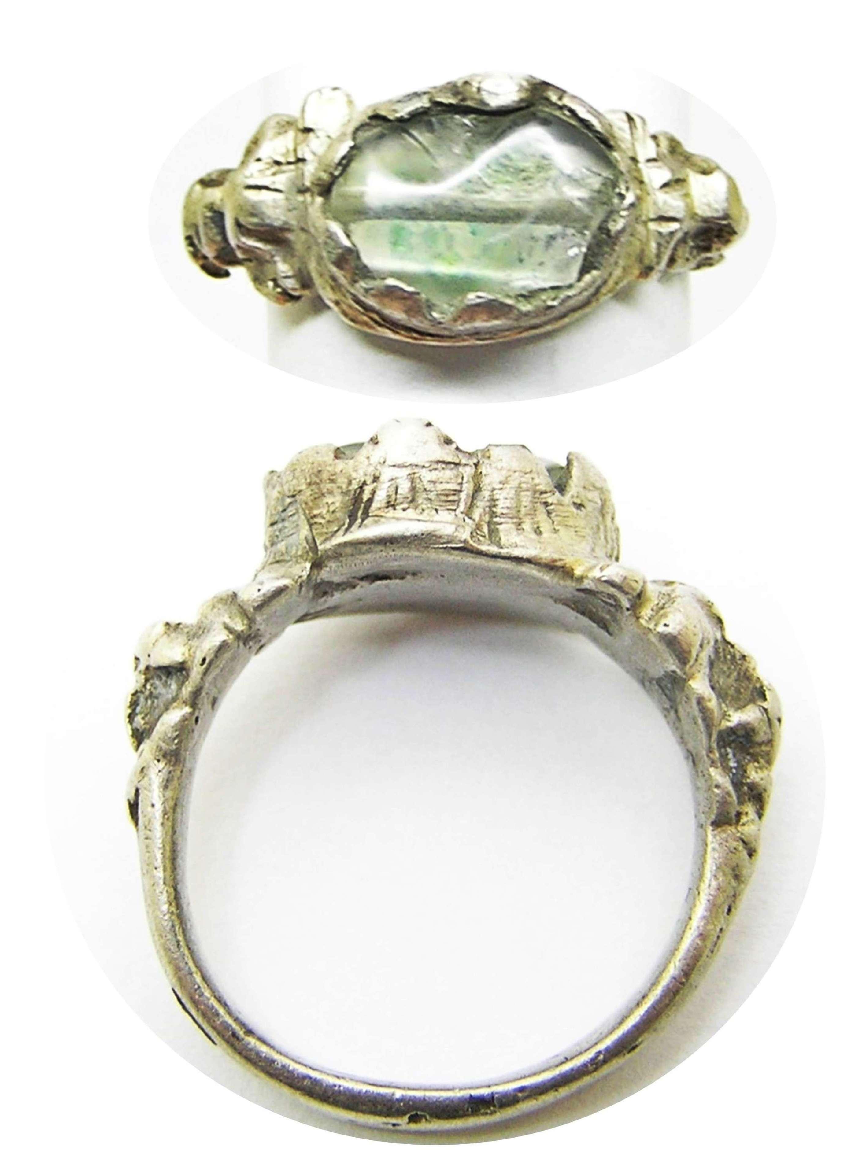 Renaissance silver and rock crystal gemstone finger ring