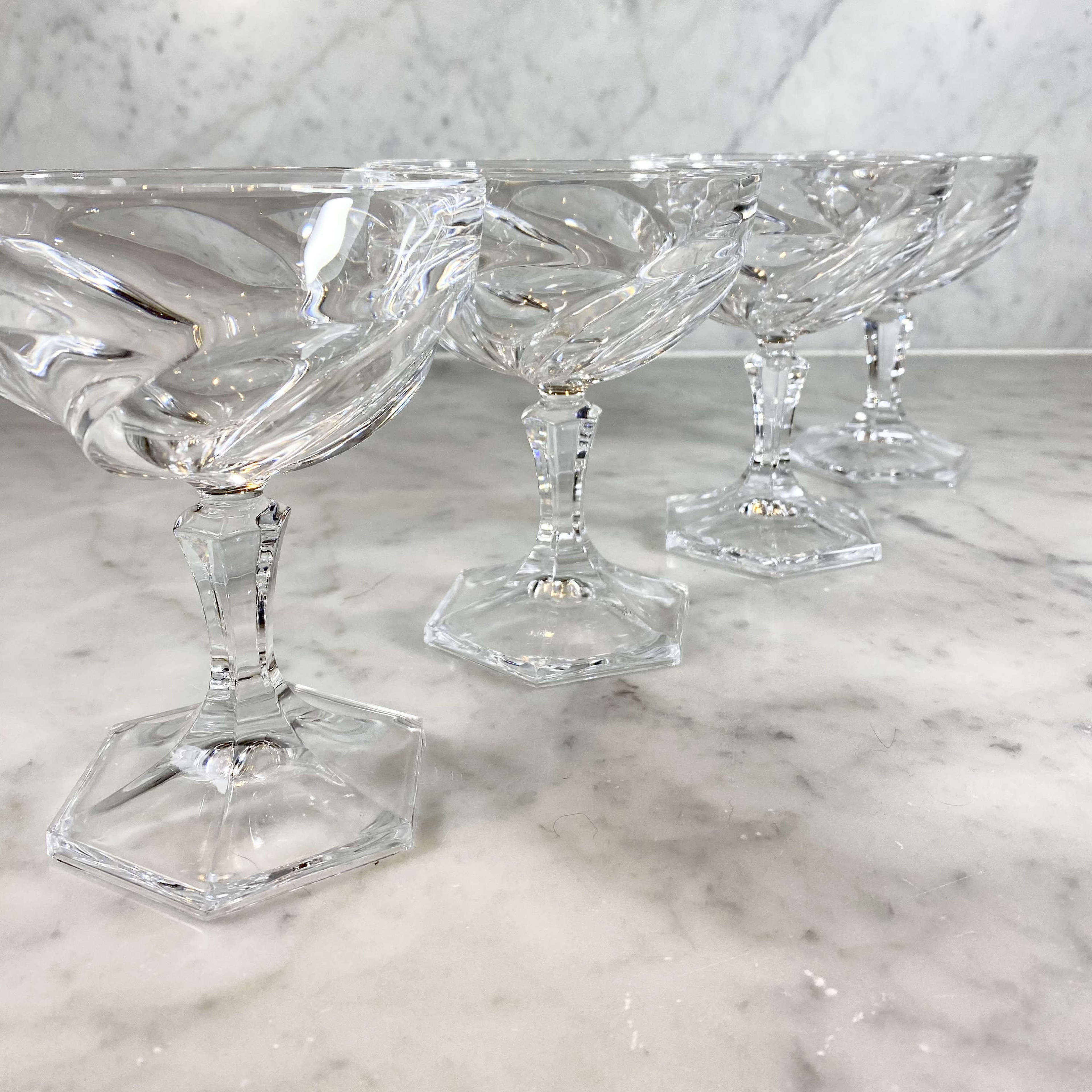1970s French spiral lead crystal cocktail coupes