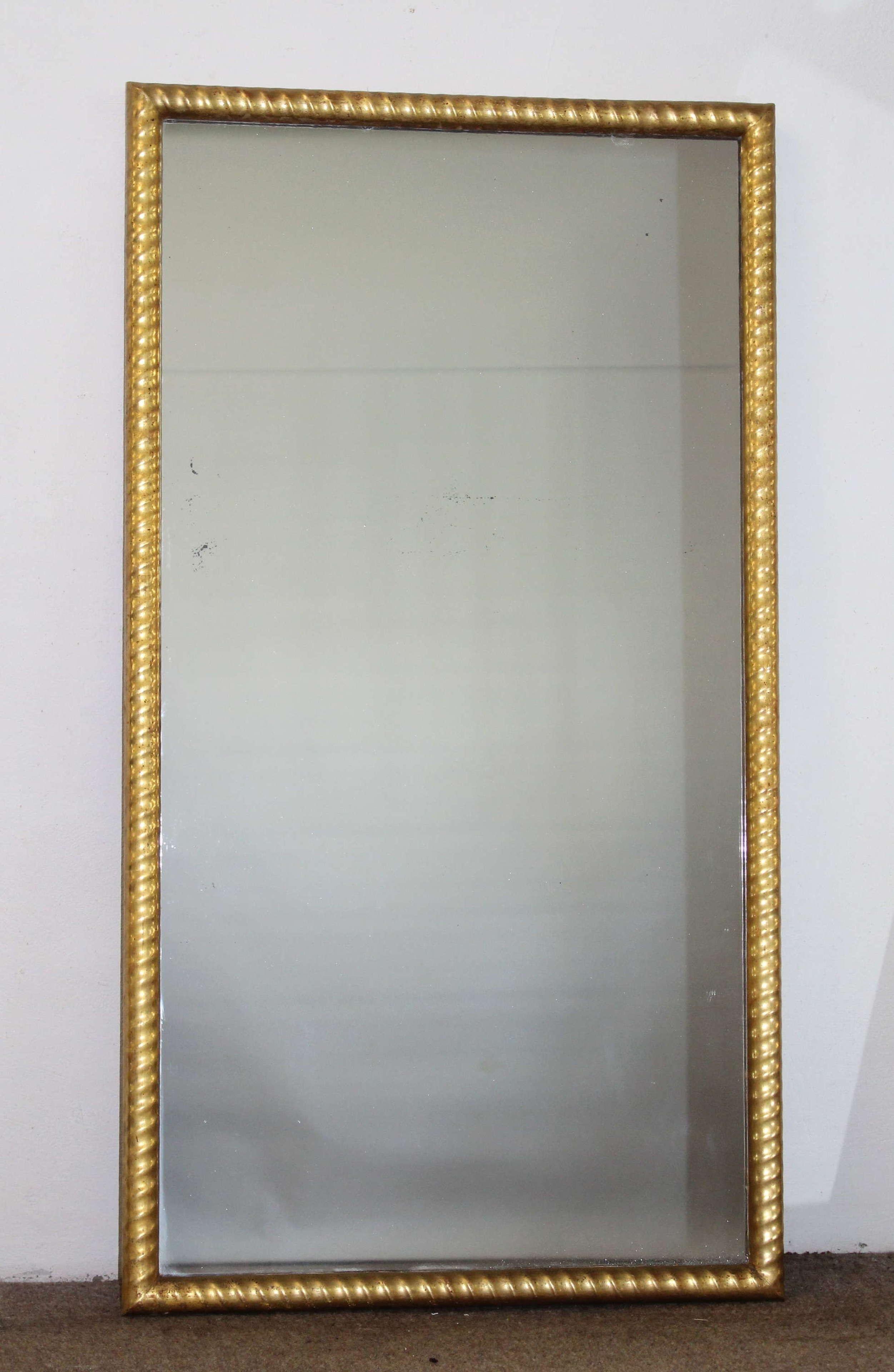 Antique French gilt ropetwist framed mirror