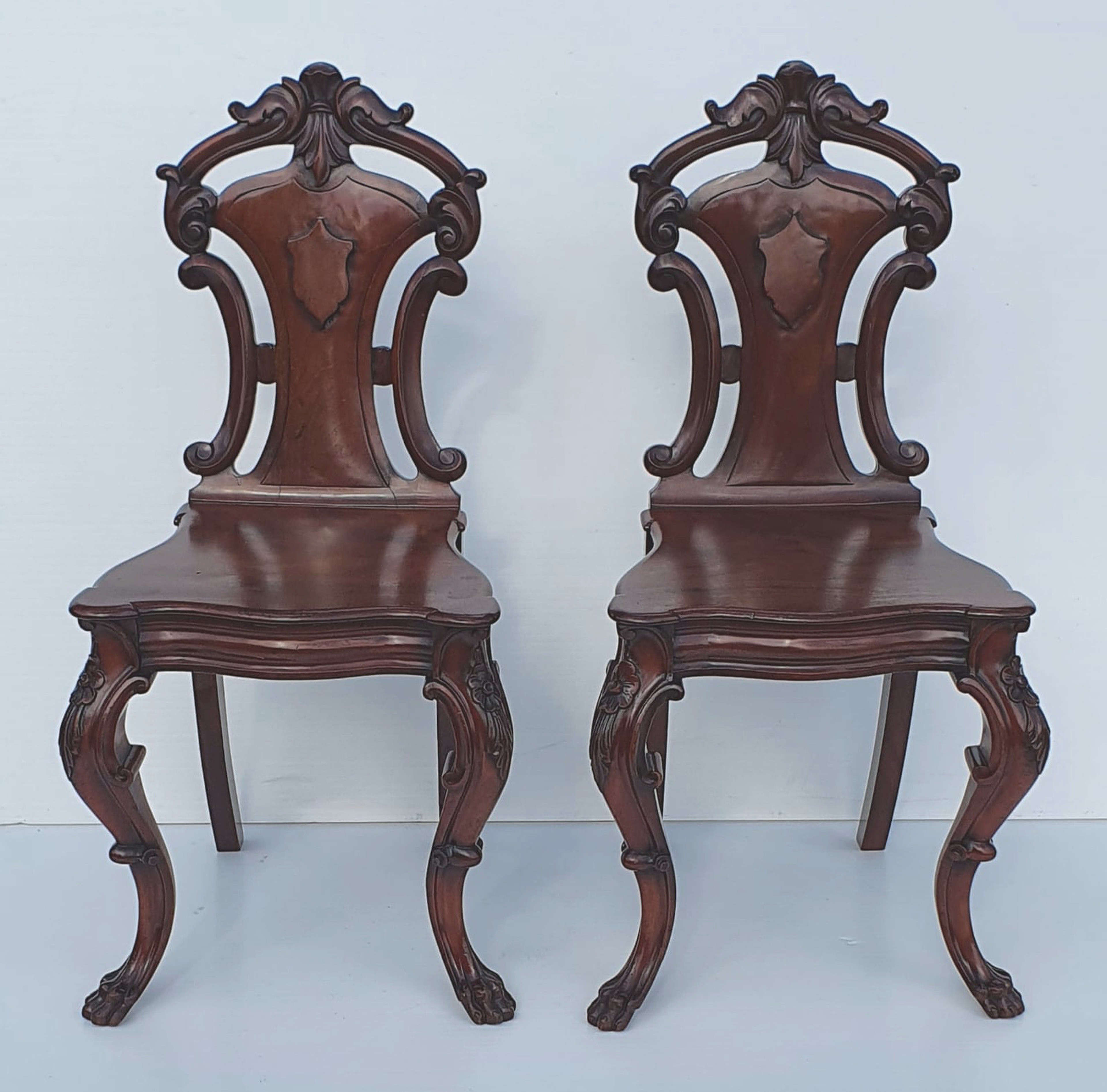 Pair of 19th Century Hall Chairs attributed to Strahan of Dublin