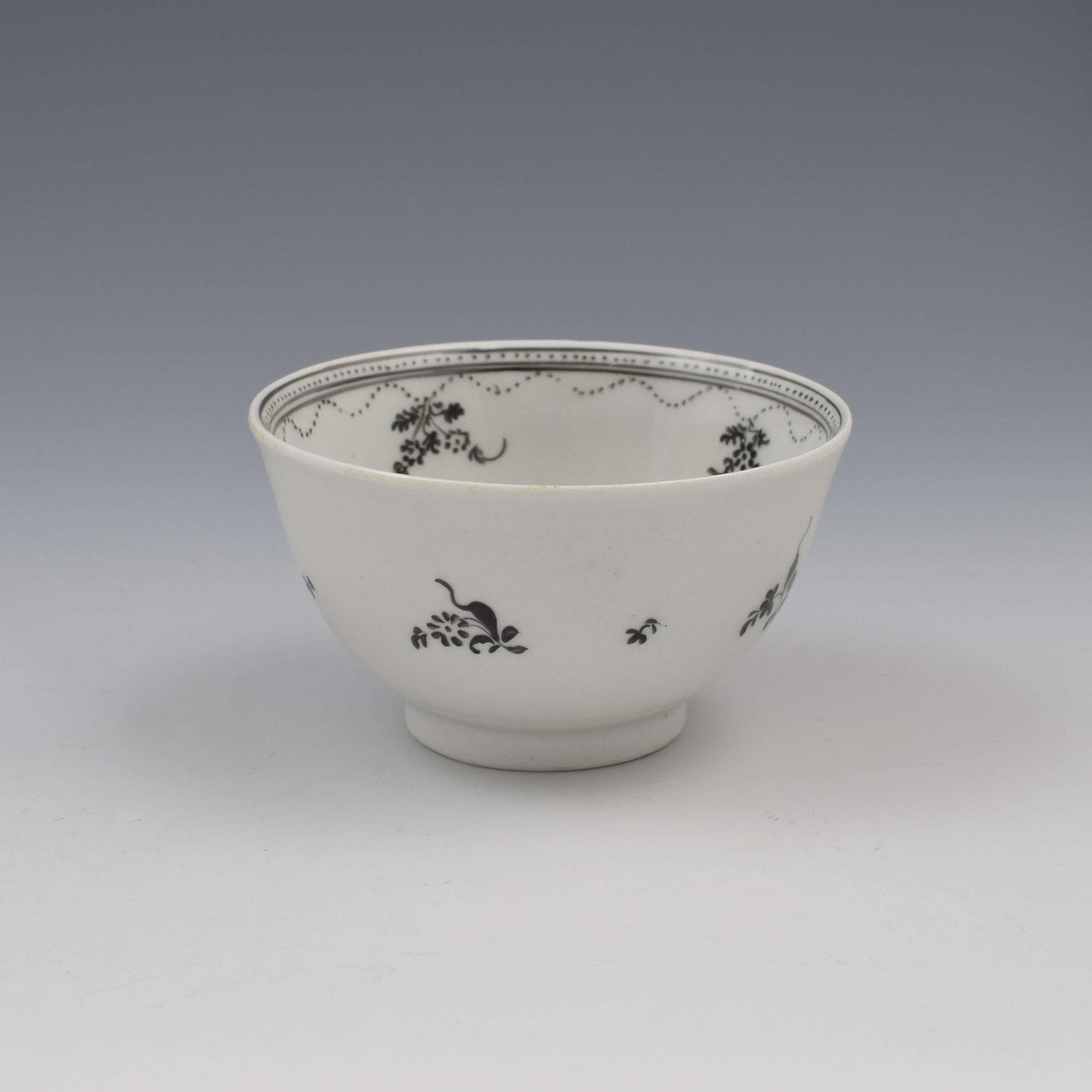 New Hall Porcelain Tea Bowl Pattern 308 Black Enamel Flower Basket