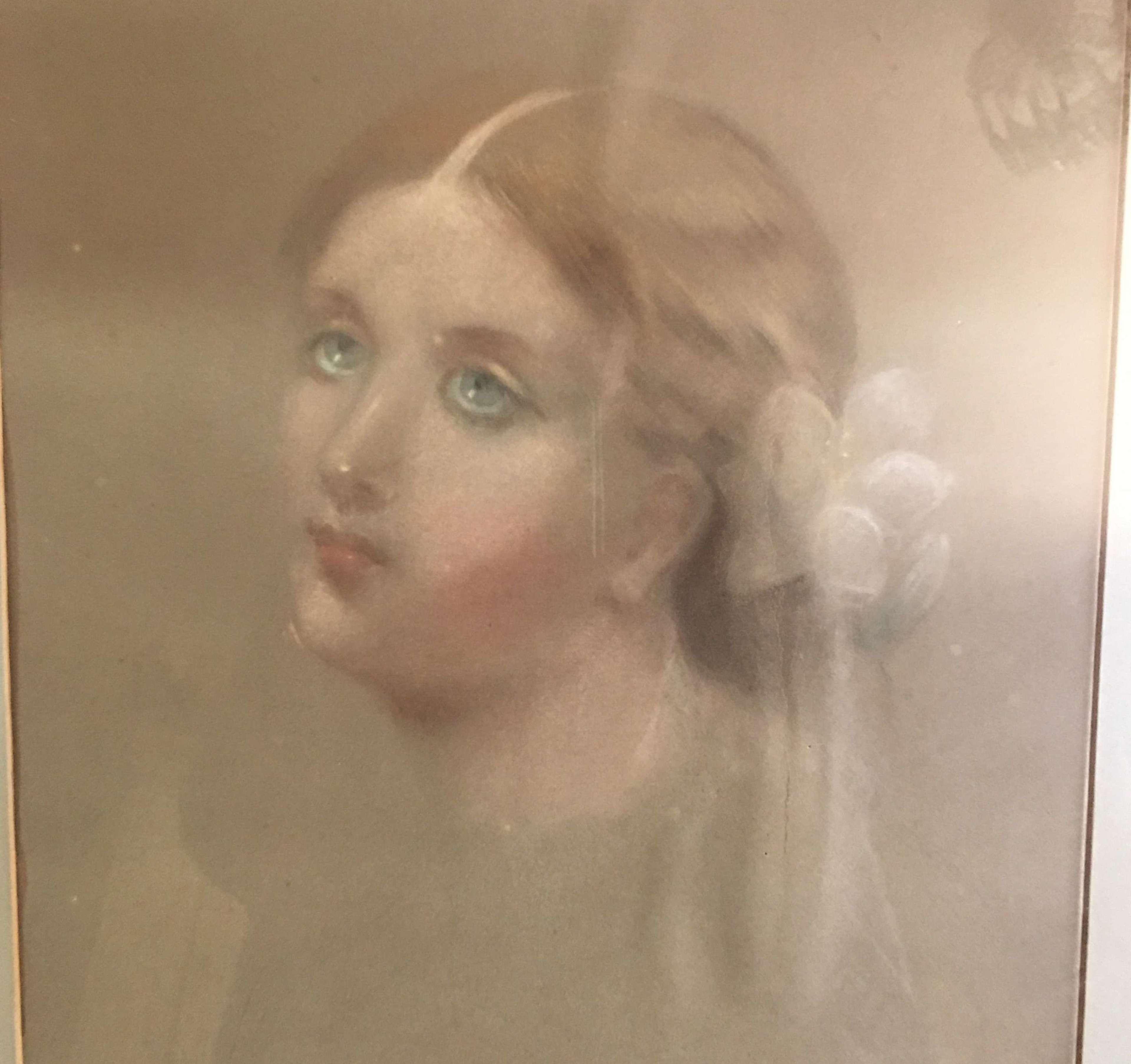 Original English school watercolour portrait of Elaine the Lily 1862