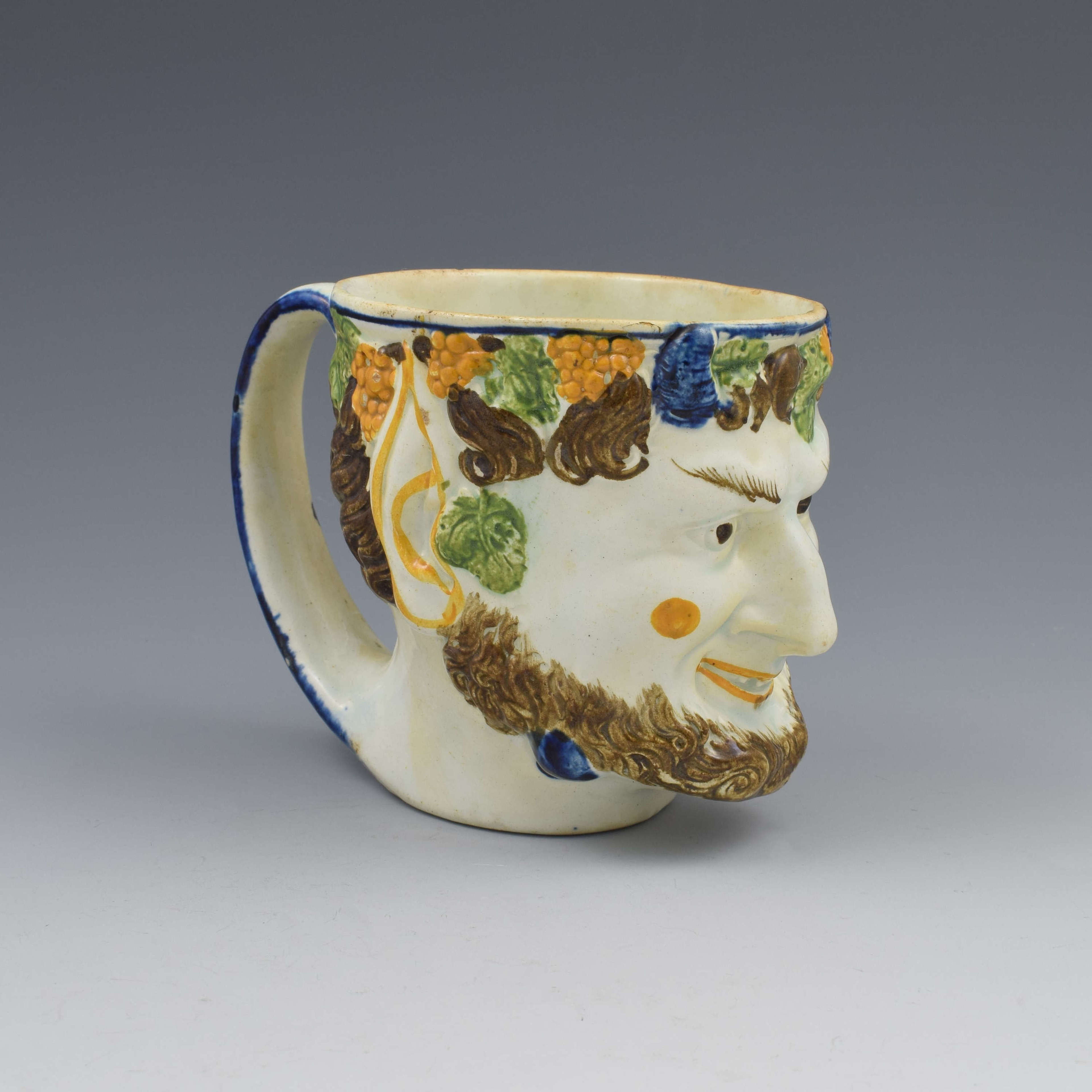 Staffordshire Prattware Pearlware Bacchus / Satyr Mug c.1800