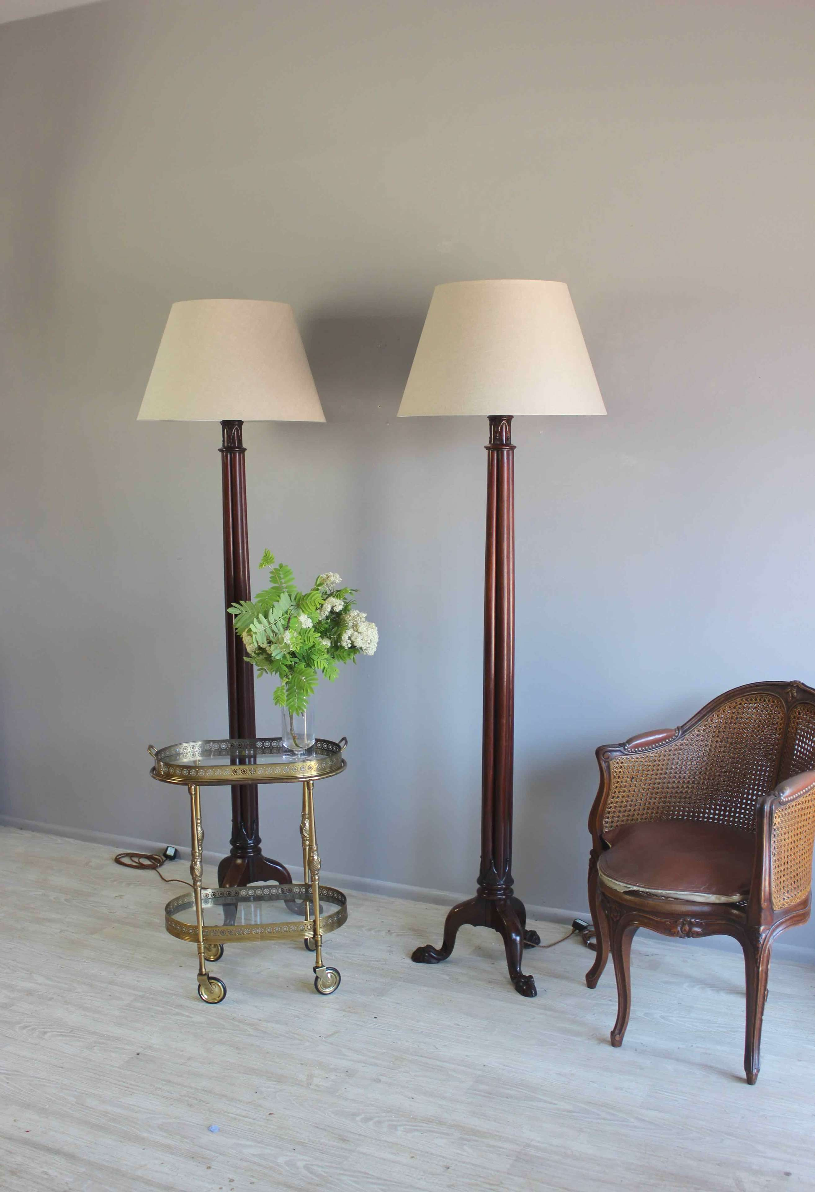 Pair of English country house floor lamps