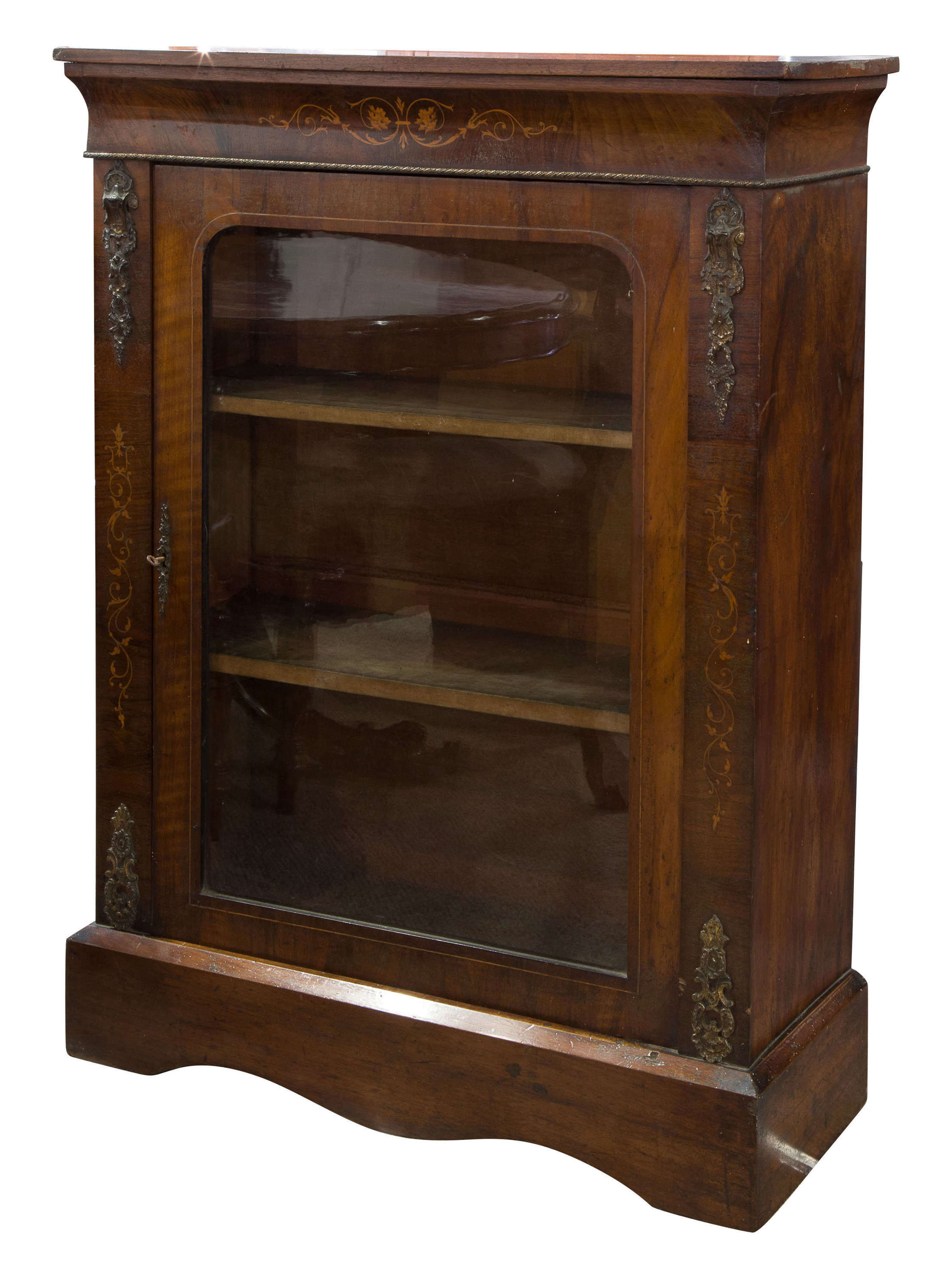 Mid Victorian walnut and marquetry inlaid side cabinet