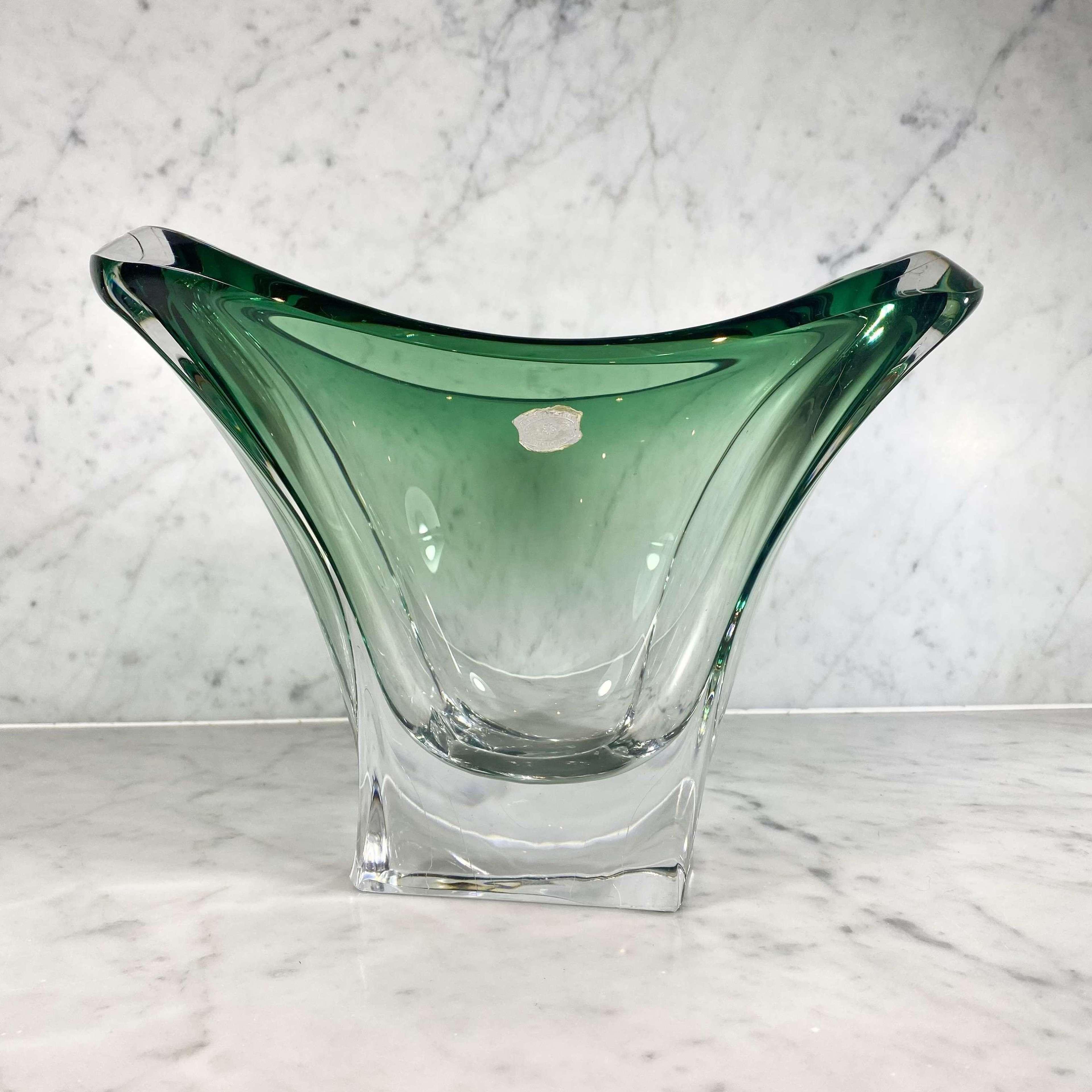Large green fade crystal vase by Val Saint Lambert
