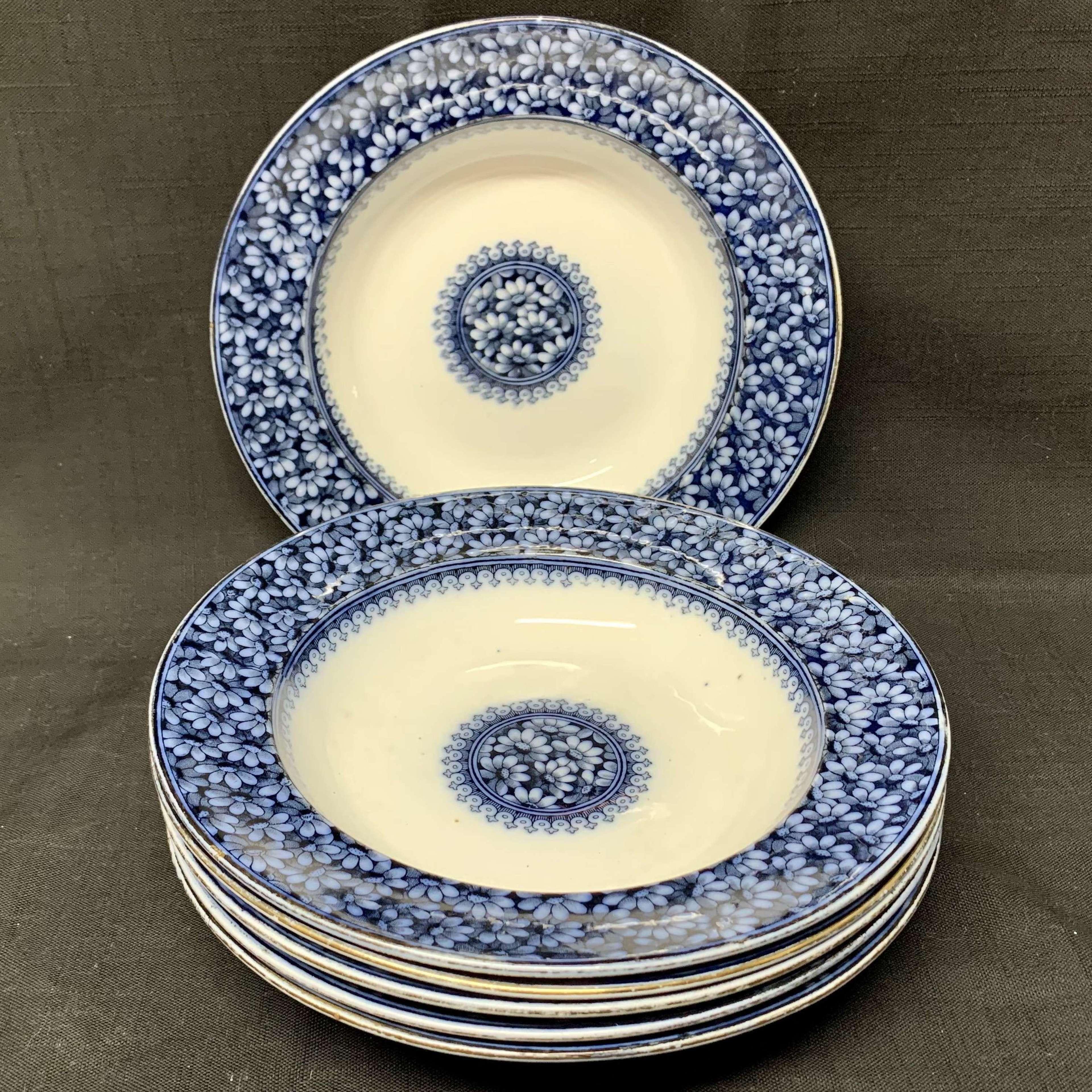 Six Flow Blue Transferware Soup Bowls ~ DAISY 1880