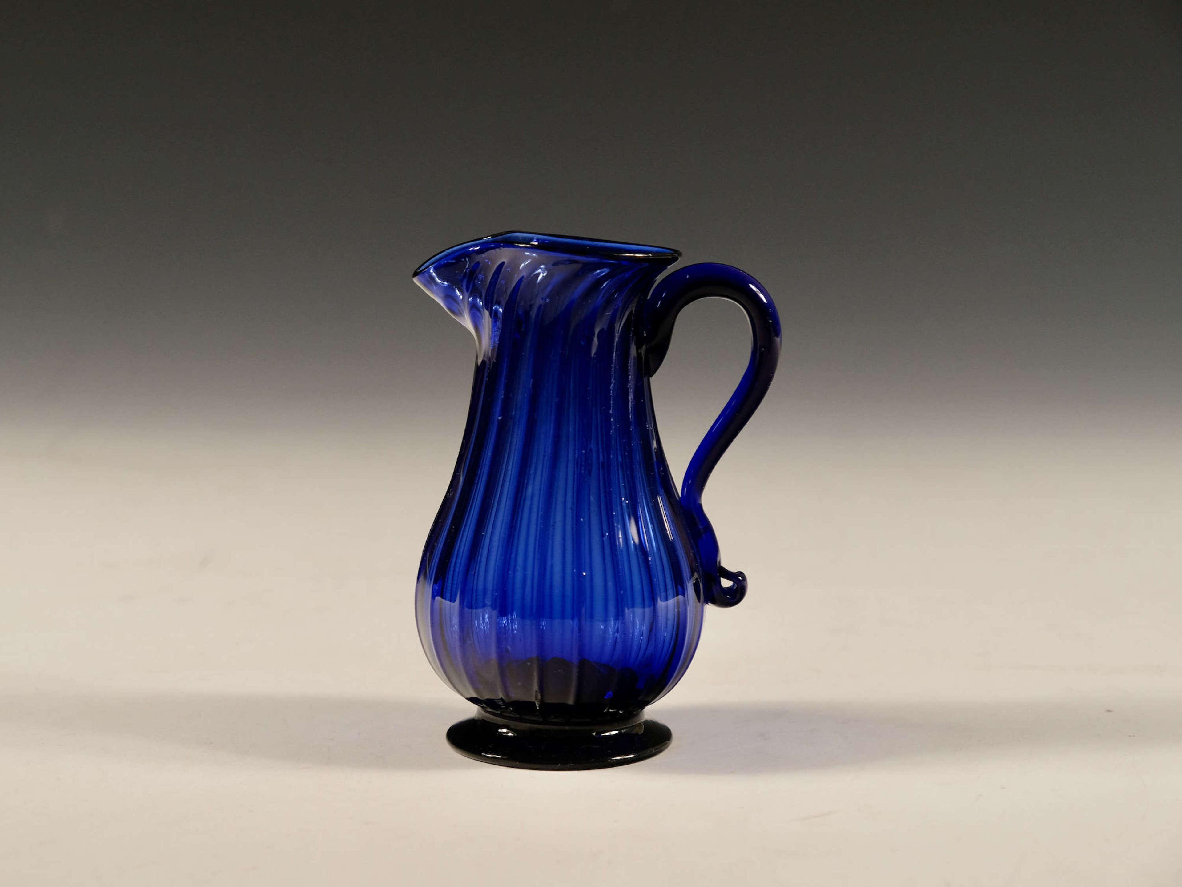 Antique cream jug blue English c1780