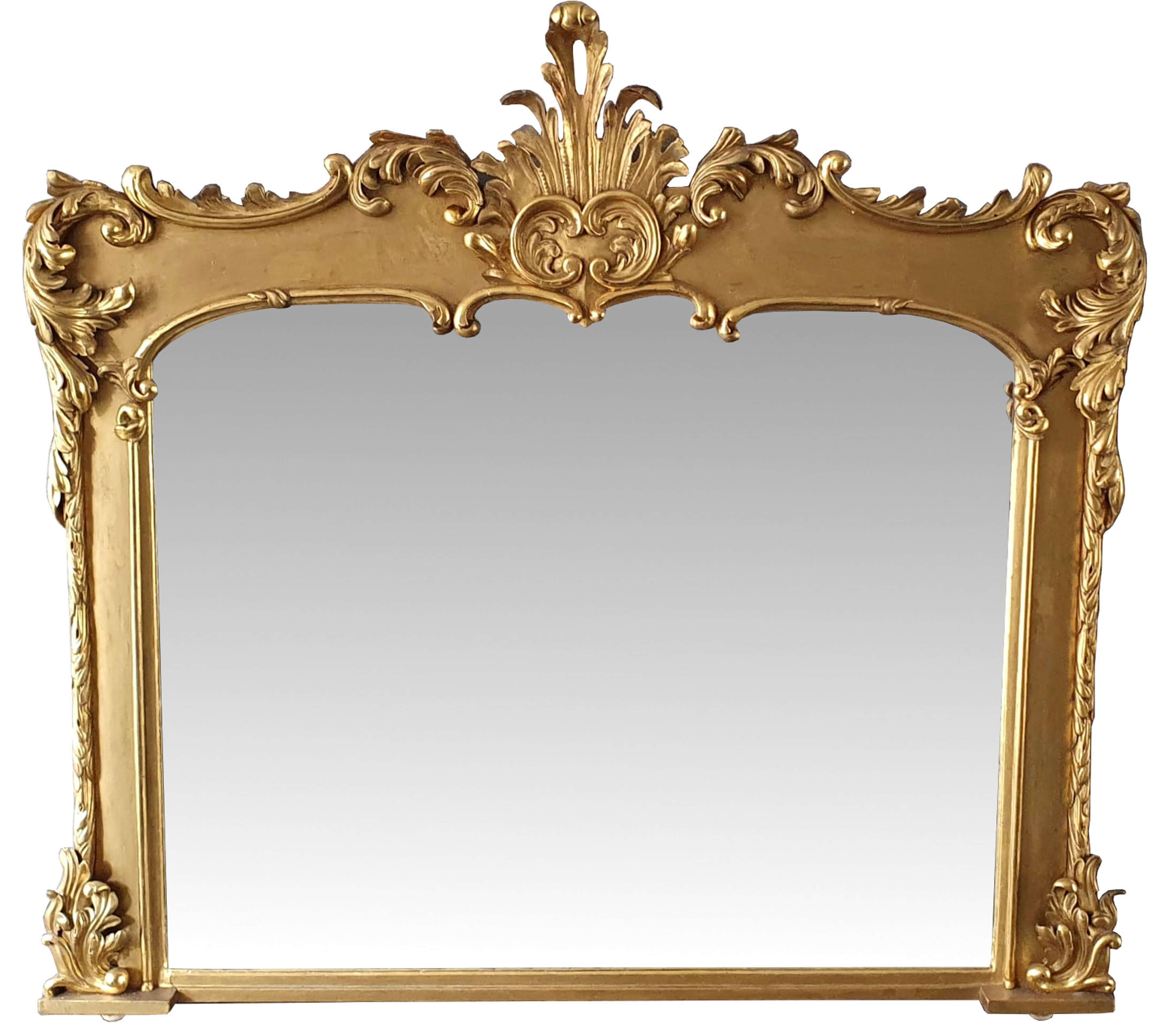 Early 19th Century Carved Timber Giltwood Overmantle Mirror
