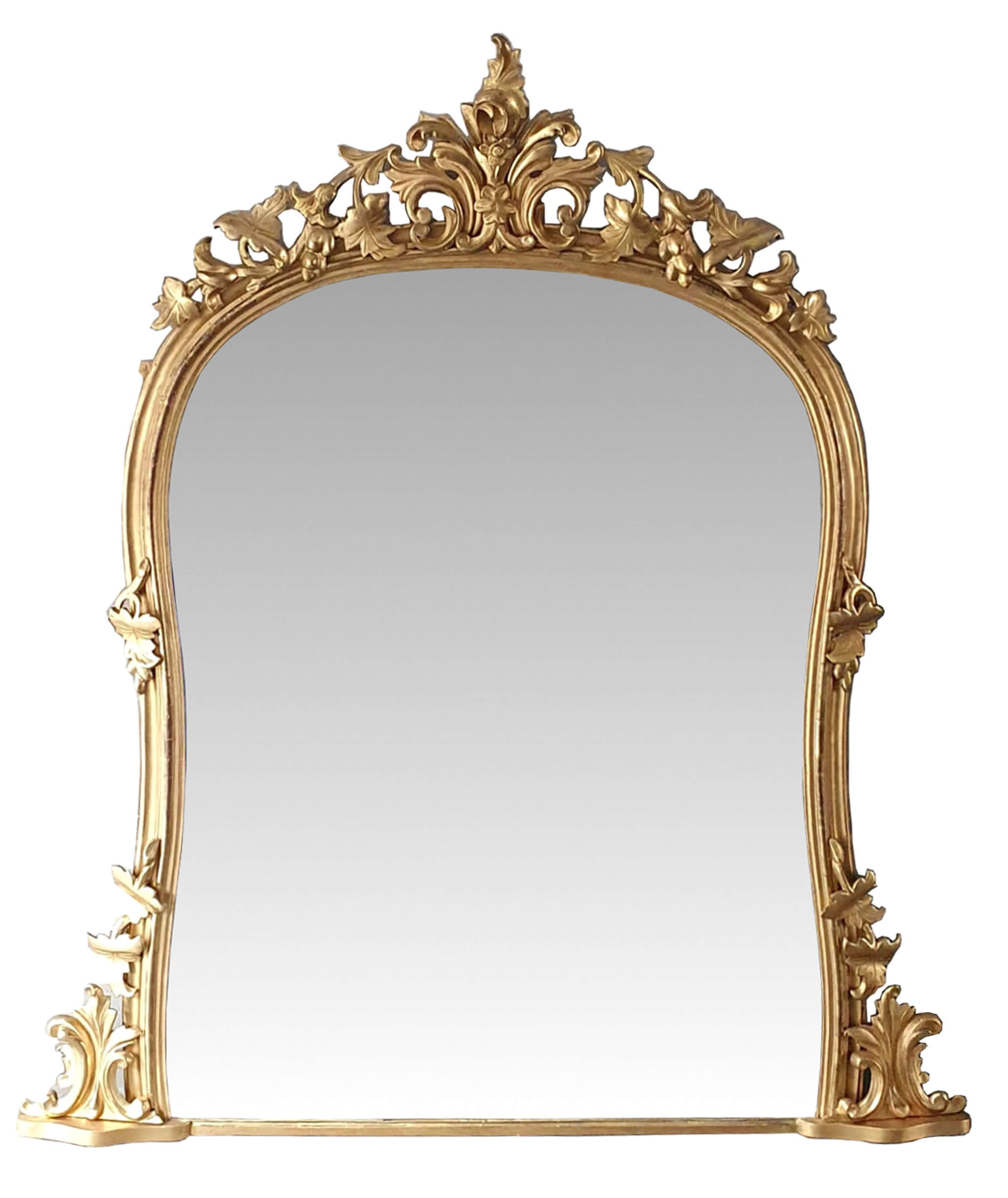 Large 19th Century Arch Top Gilt Overmantle Mirror