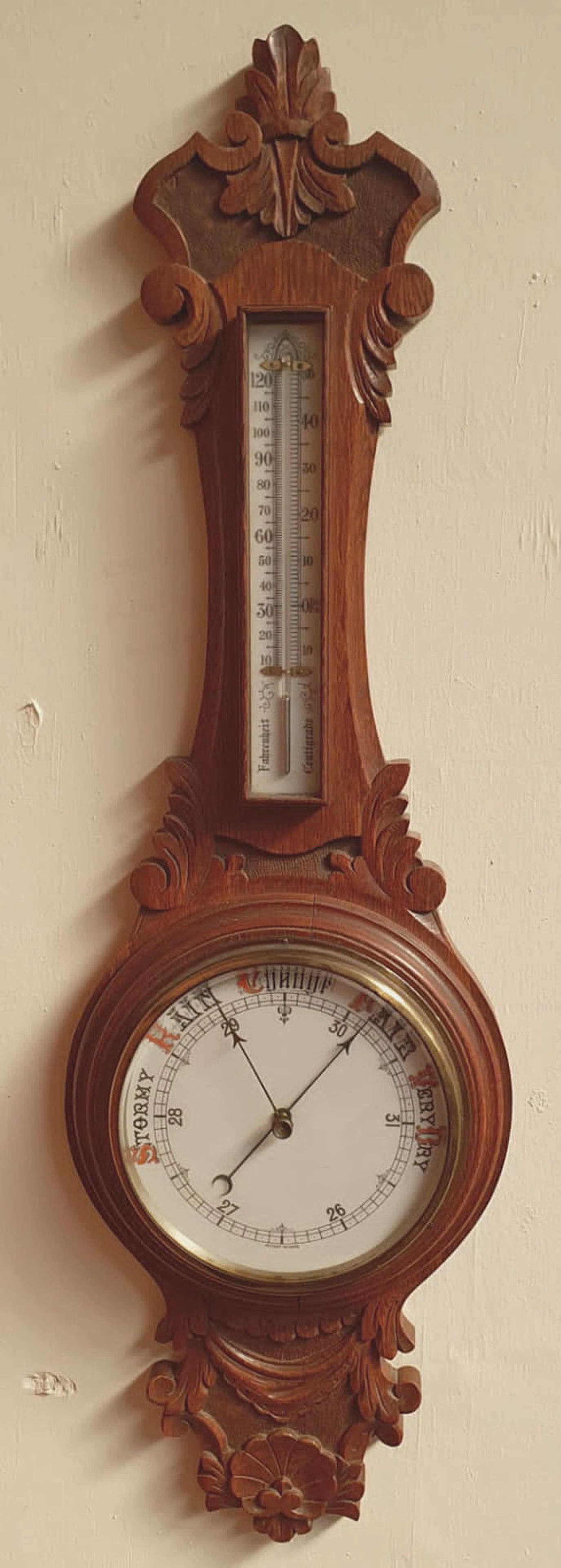 19th Century Oak Barometer.