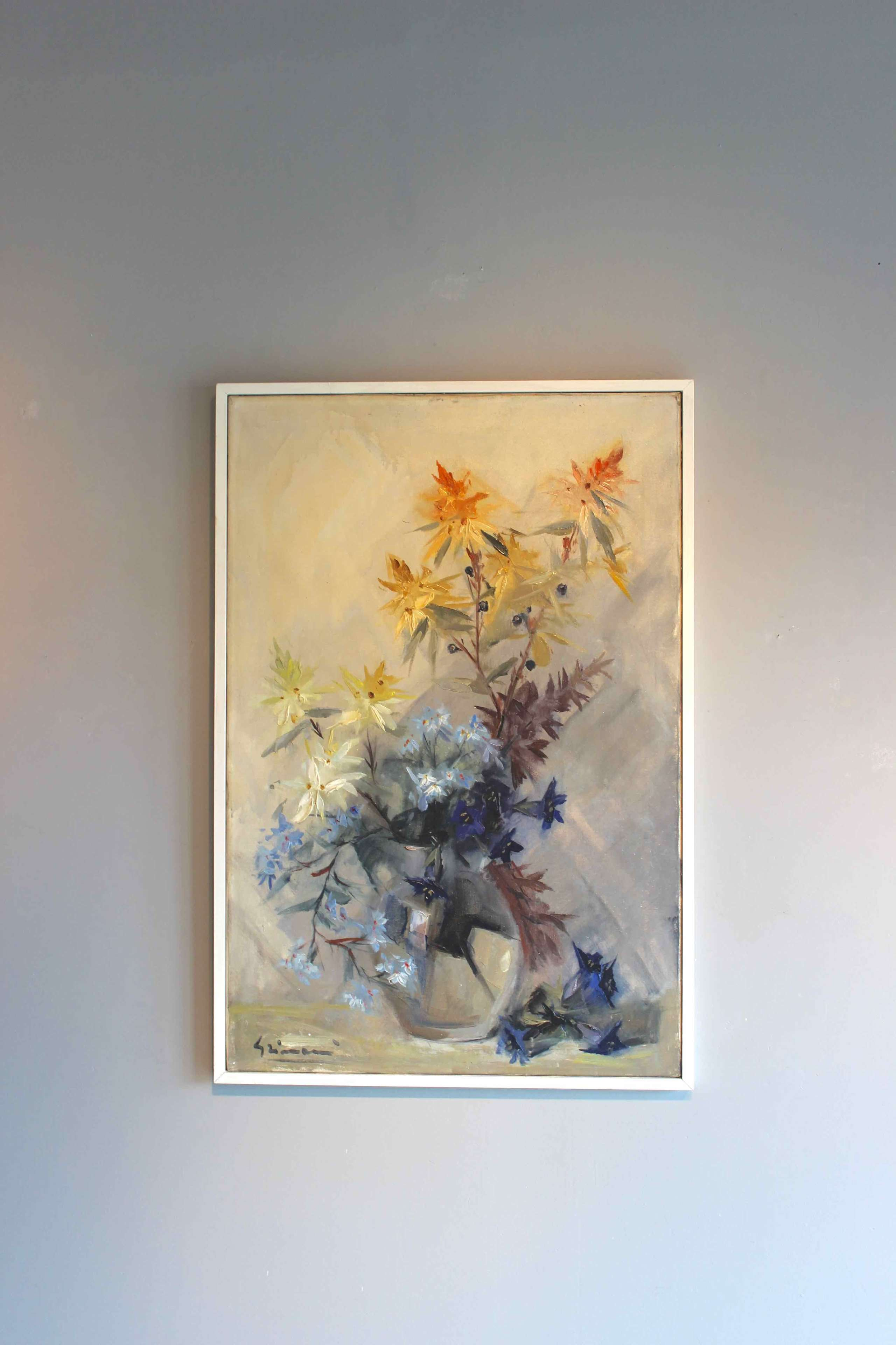 Pretty oil on canvas  of flowers by Beppe Grimani