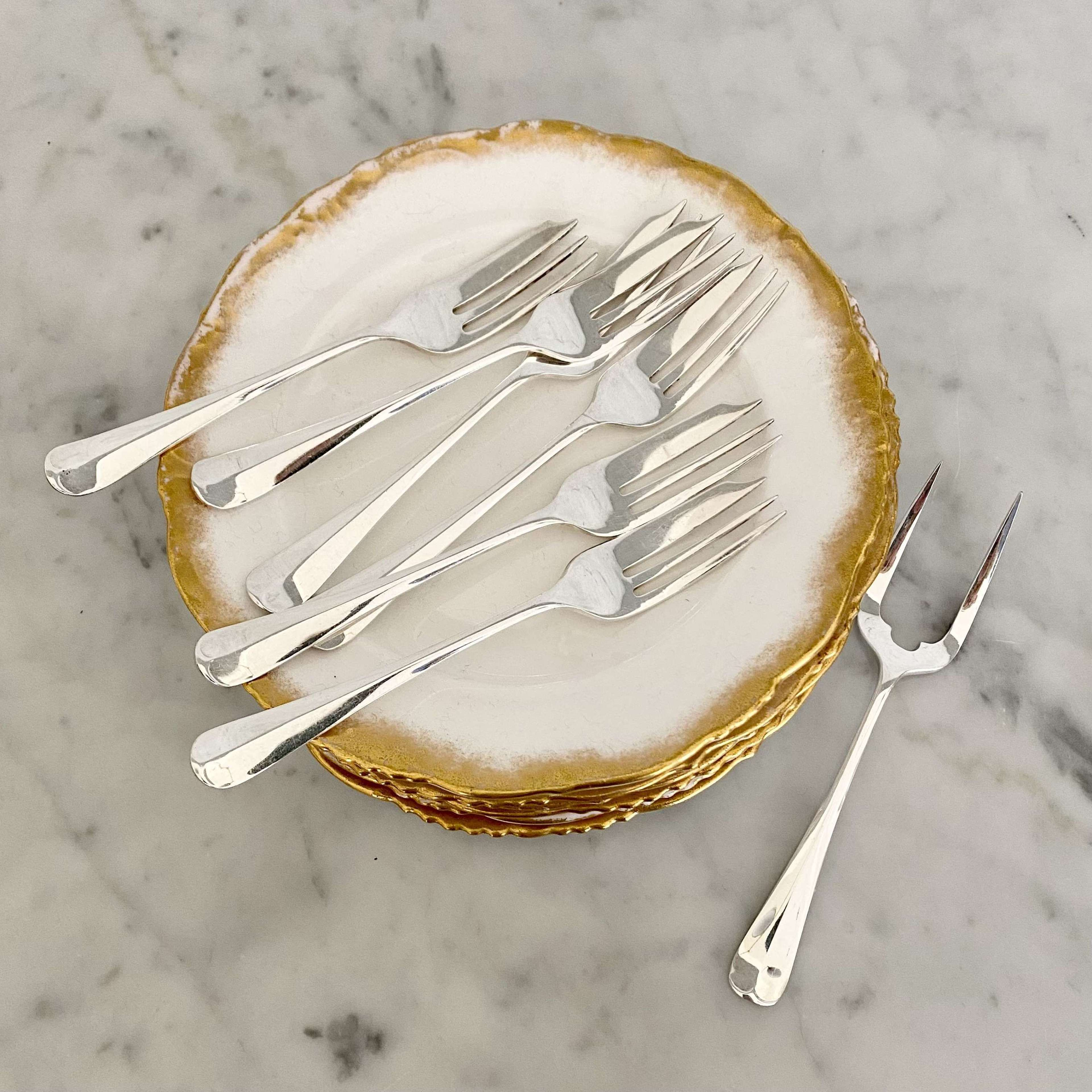 Set of Art Deco silver plated cake forks