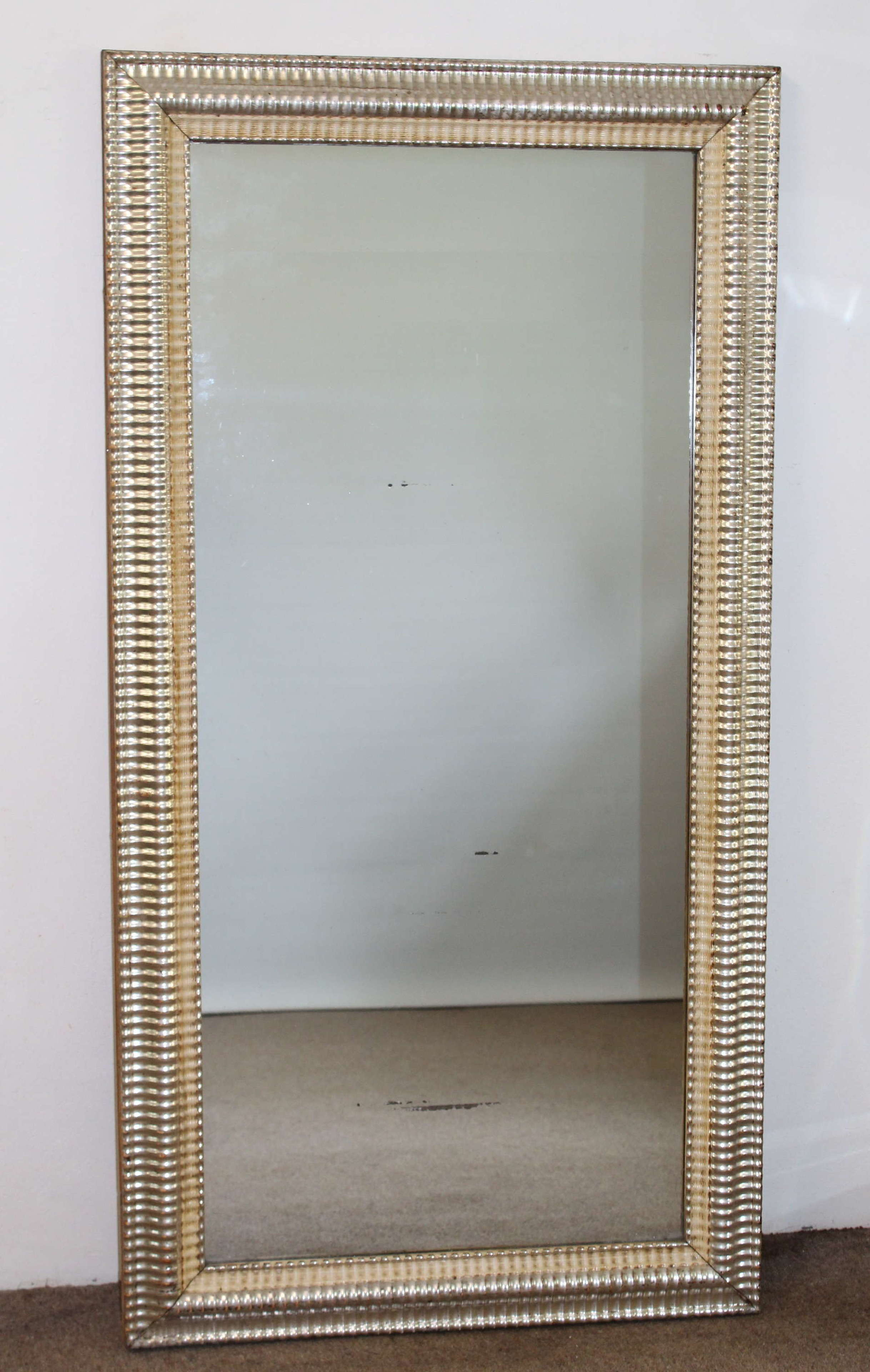 Antique French silver ripple framed mirror