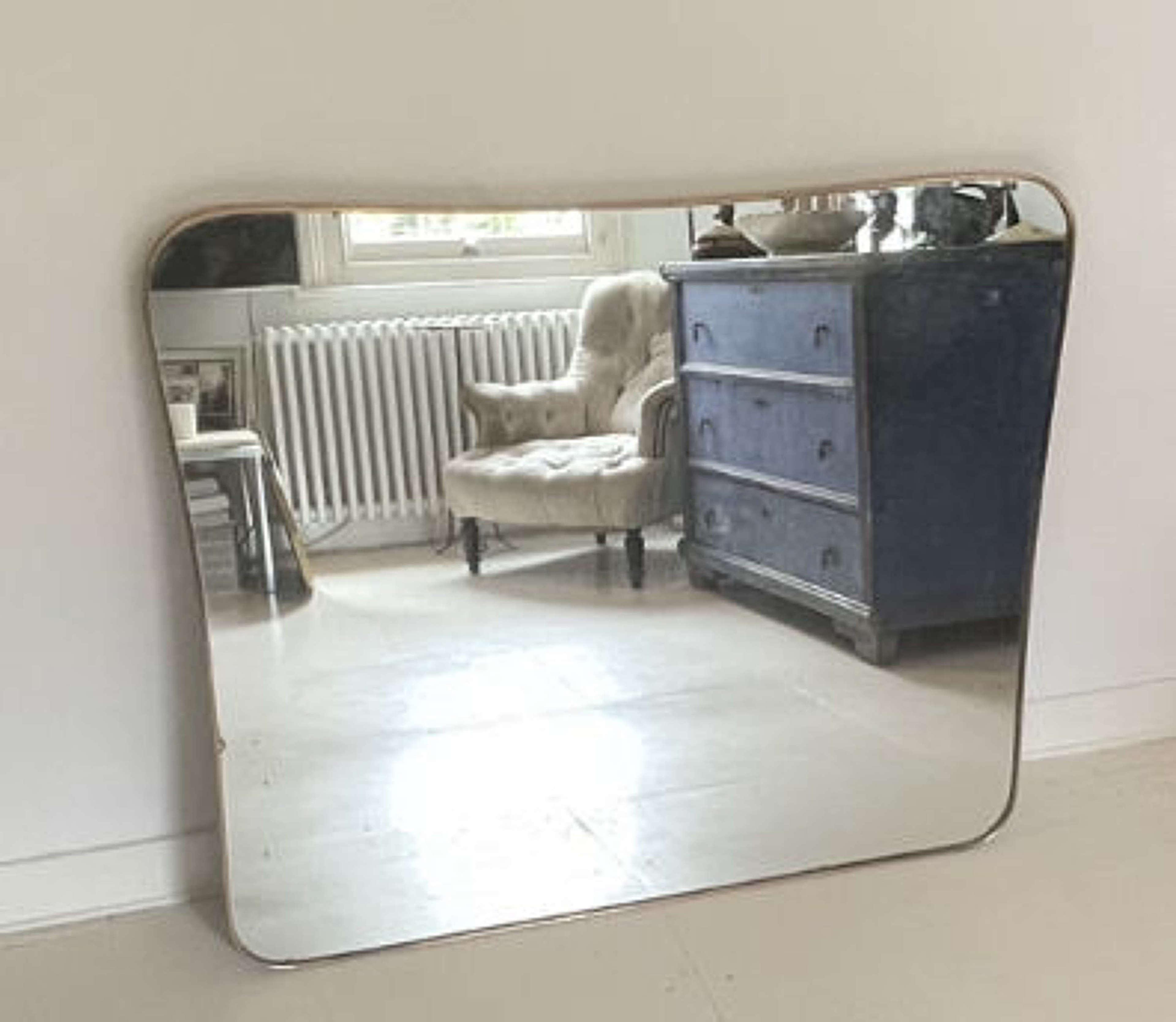 Italian Brass Overmantel Mirror - 50s