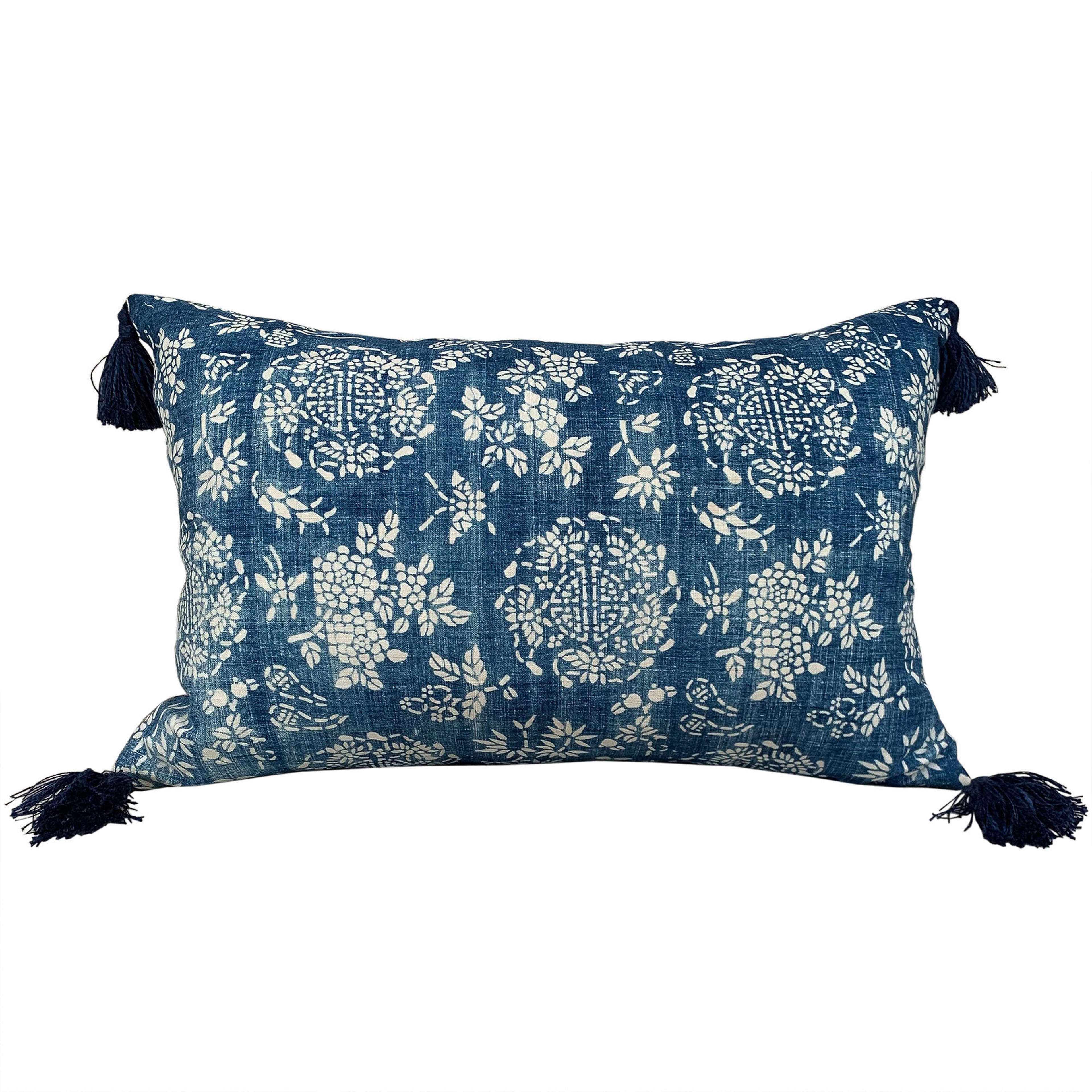 Indigo resist cushions with tassels