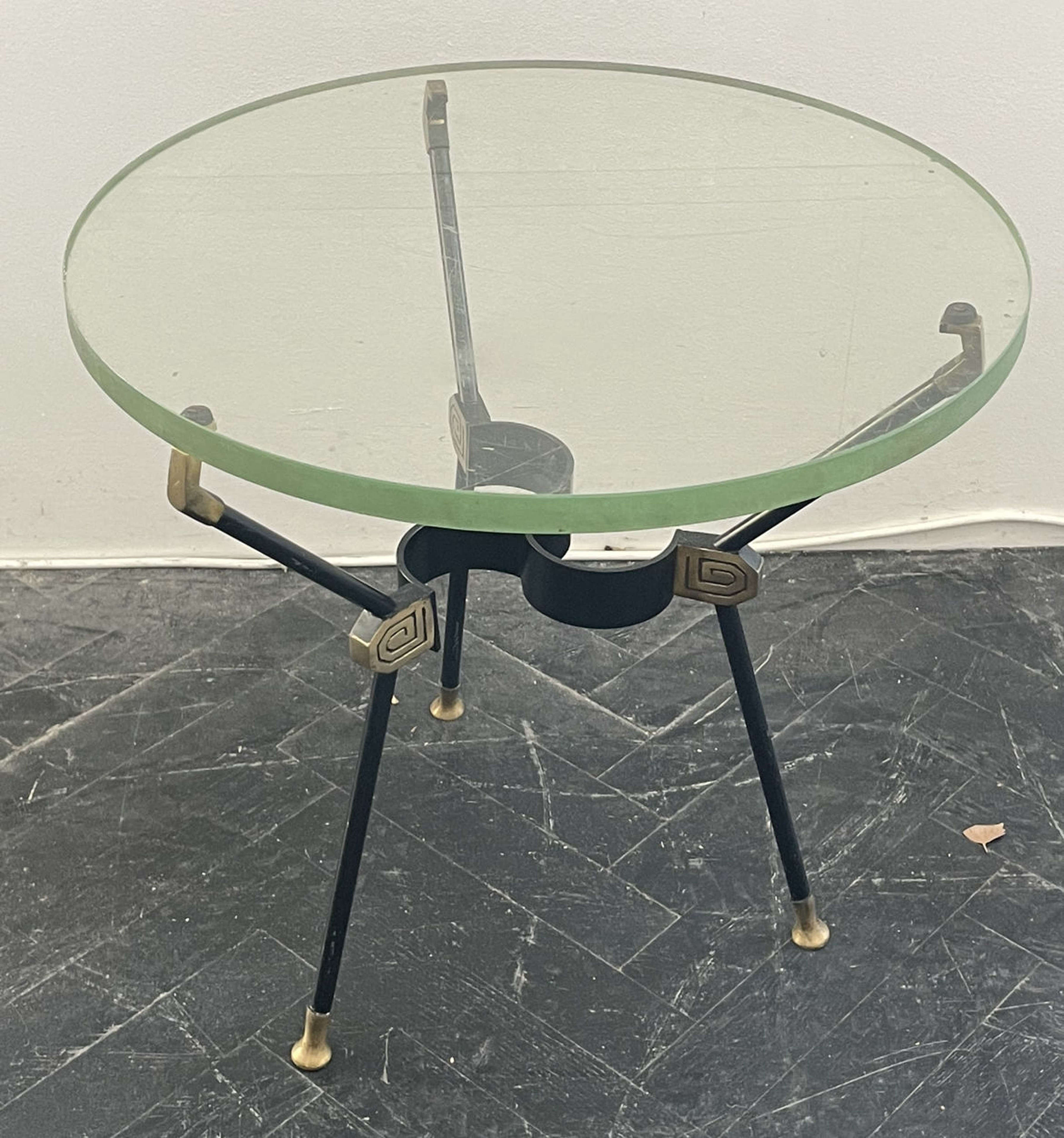Italian Brass & Glass Occasional Table - 60s