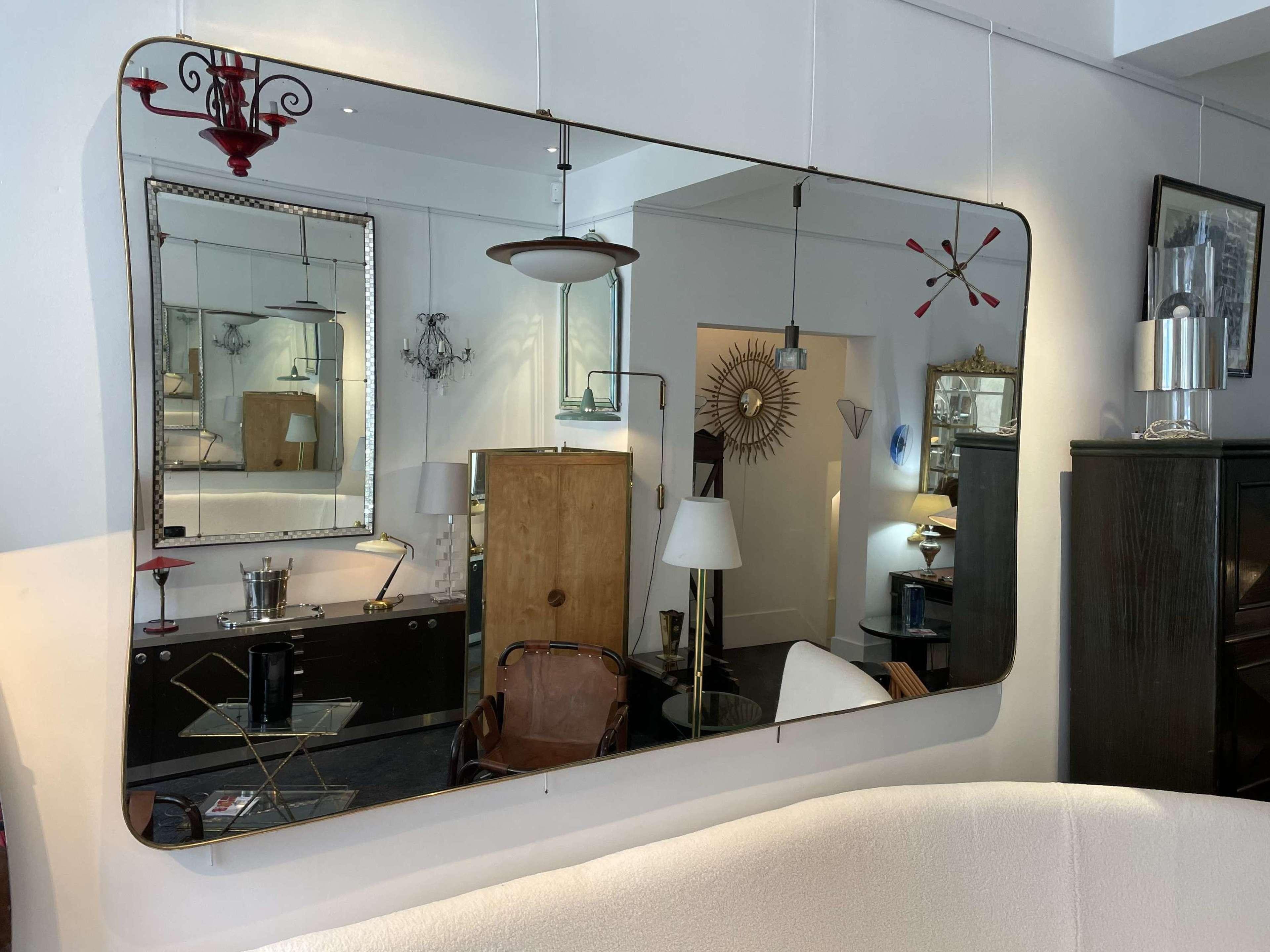 Large Italian Mid Century Brass Mirror - 240 x 140 cm