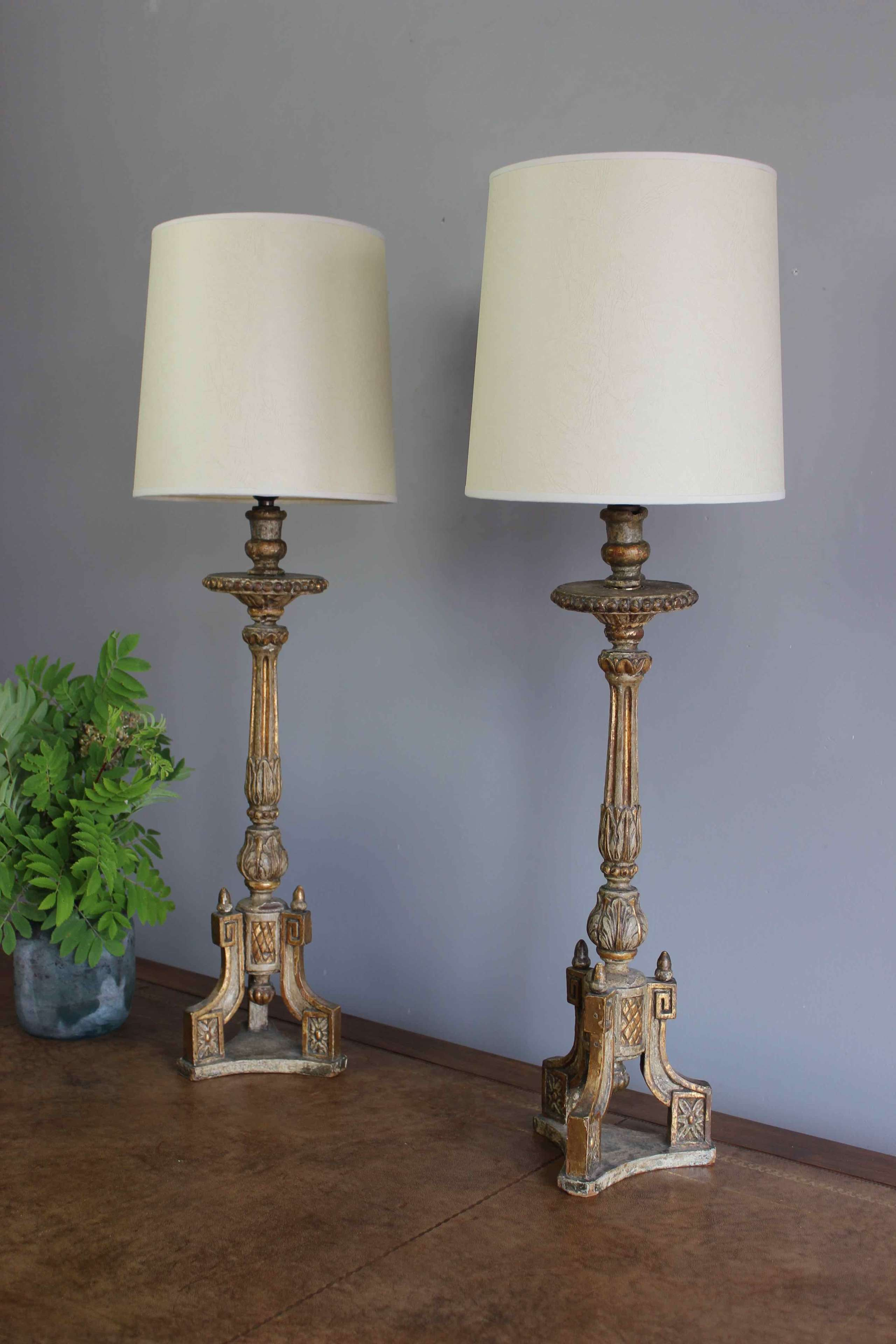 Pair of 19th C giltwood table lamps